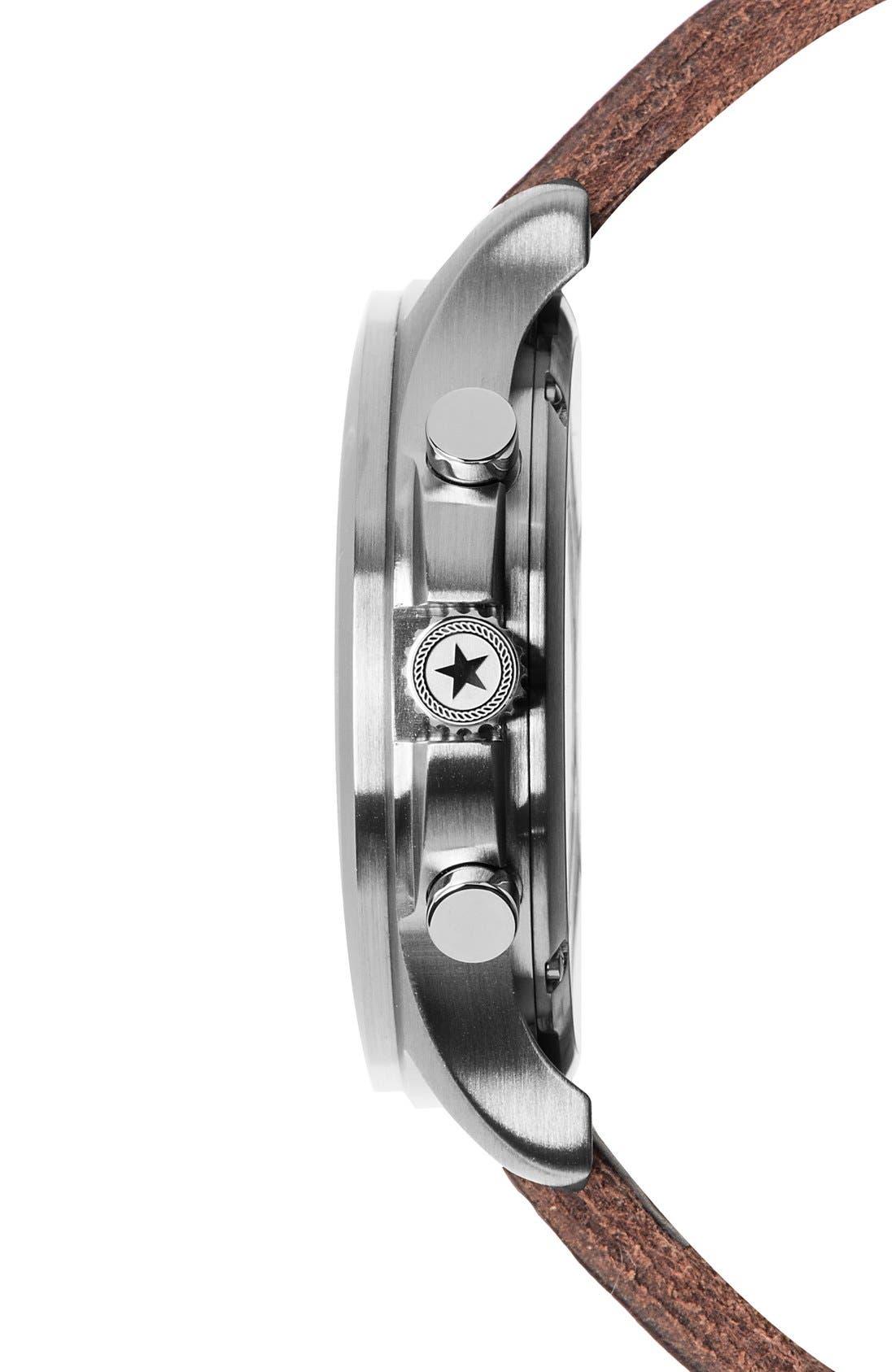Alternate Image 3  - Jack Mason Field Chronograph Leather Strap Watch, 42mm