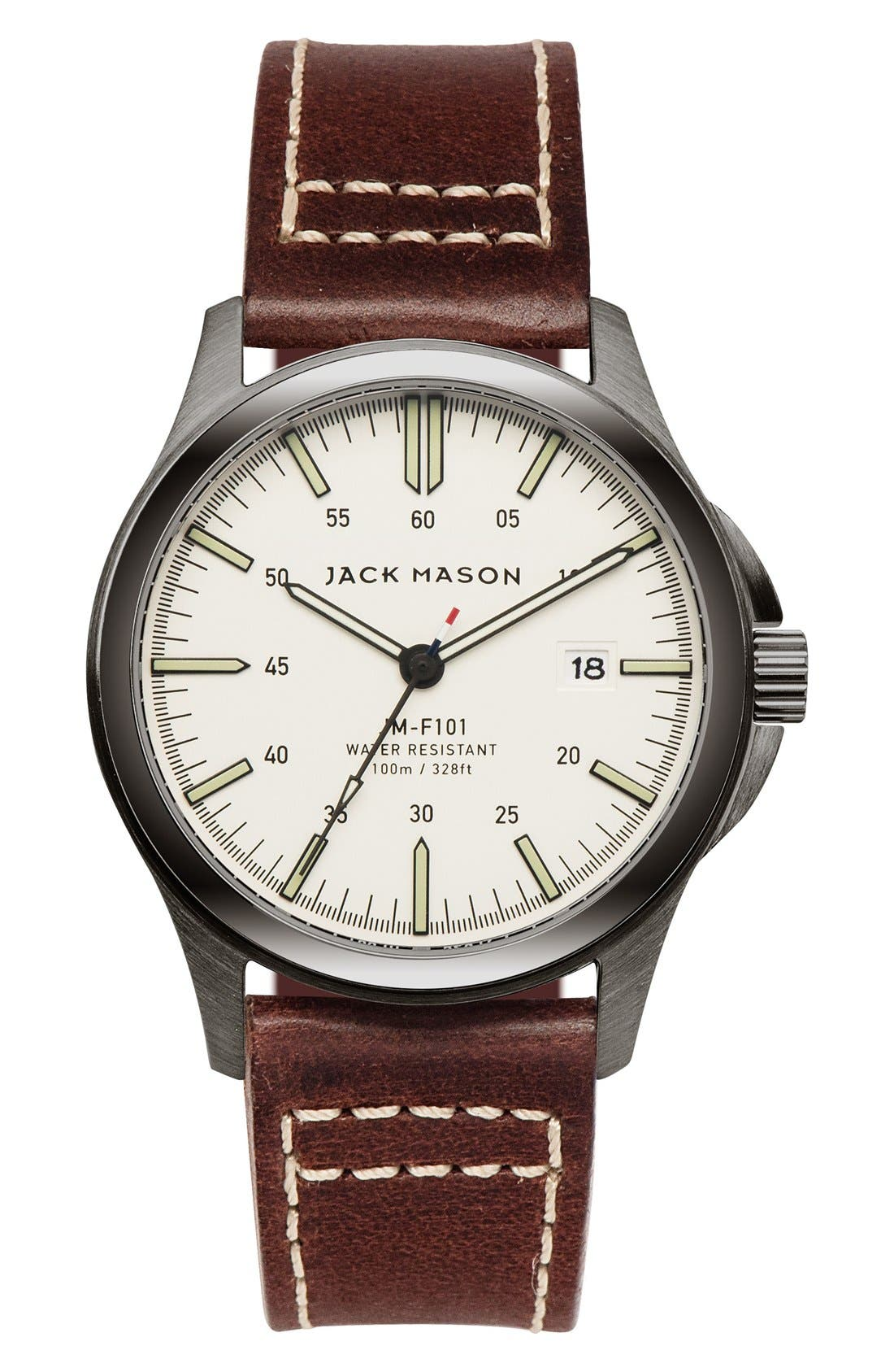 JACK MASON Field Leather Strap Watch, 42mm