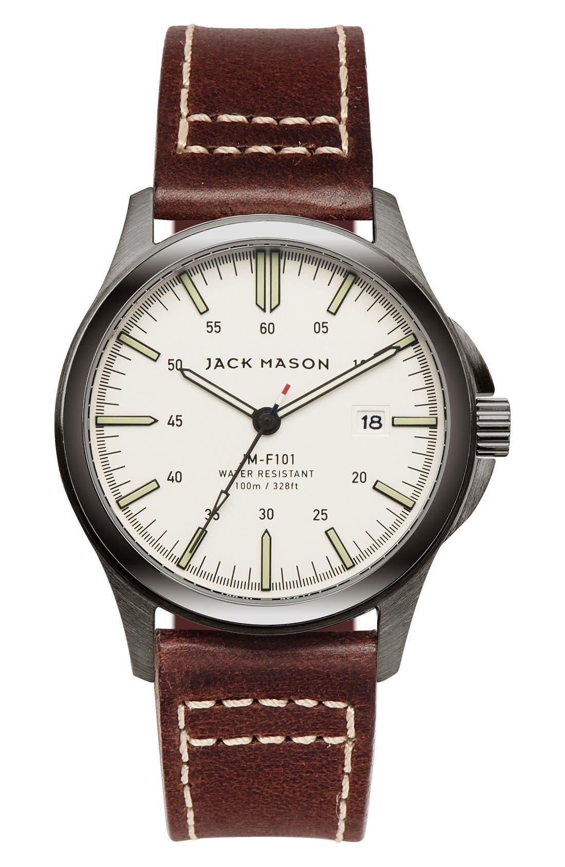 Main Image - Jack Mason Field Leather Strap Watch, 42mm