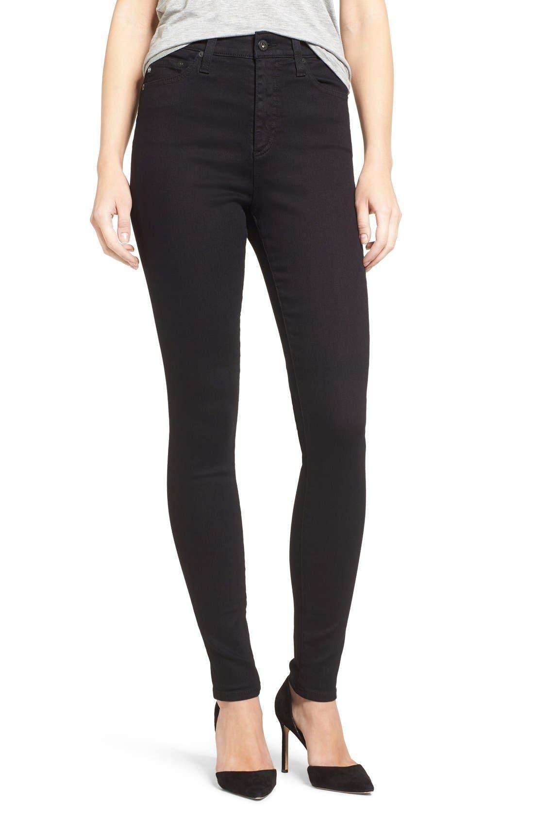 Mila High Rise Skinny Jeans,                         Main,                         color, Over Dye Black