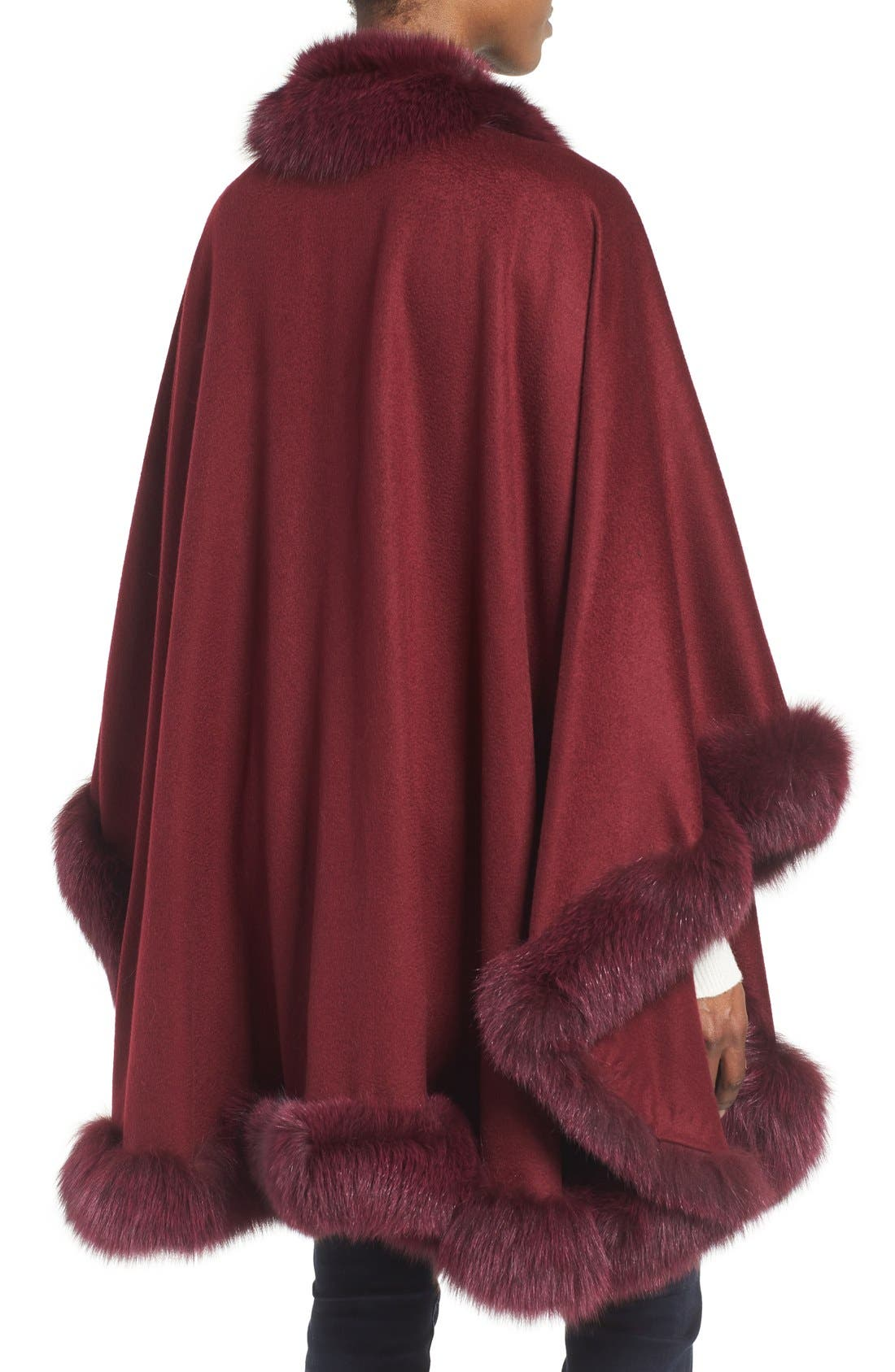 Genuine Fox Fur Trim Cape,                             Alternate thumbnail 2, color,                             Burgundy