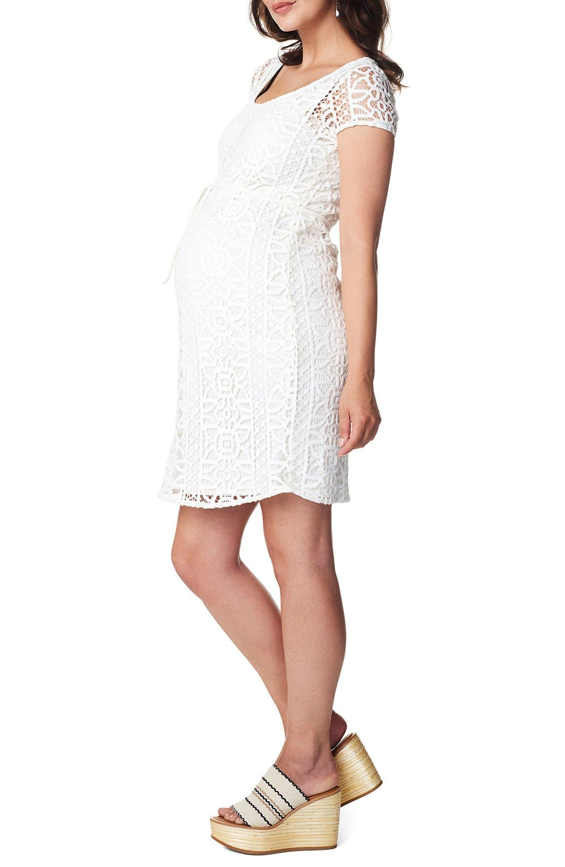 Elise Woven Lace Maternity Dress,                             Alternate thumbnail 3, color,                             Off White
