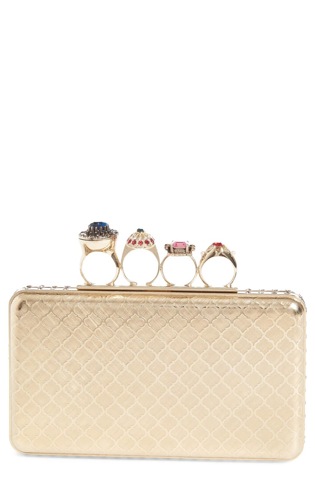 Main Image - Alexander McQueen Embellished Knuckle Clasp Box Clutch