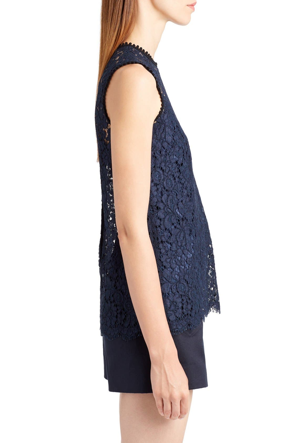 Lace Top,                             Alternate thumbnail 4, color,                             Dark Navy