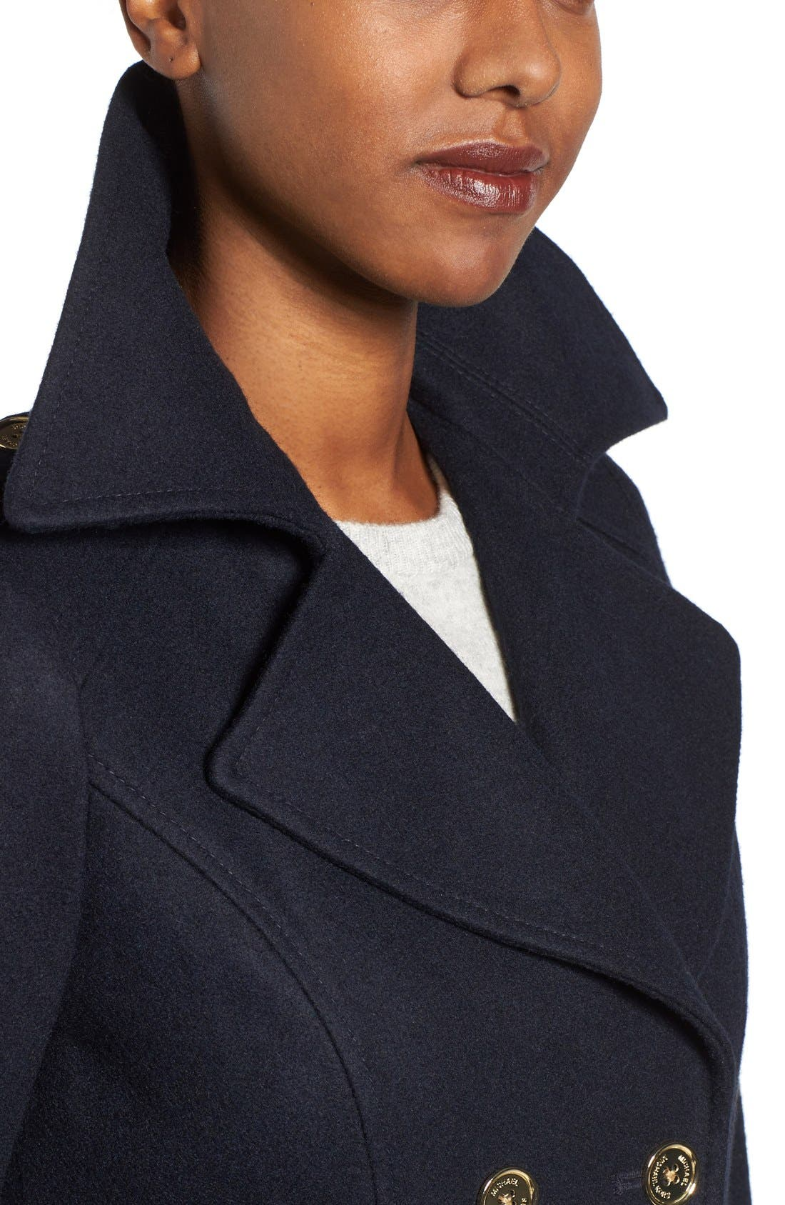 Alternate Image 4  - MICHAEL Michael Kors Long Double Breasted Peacoat