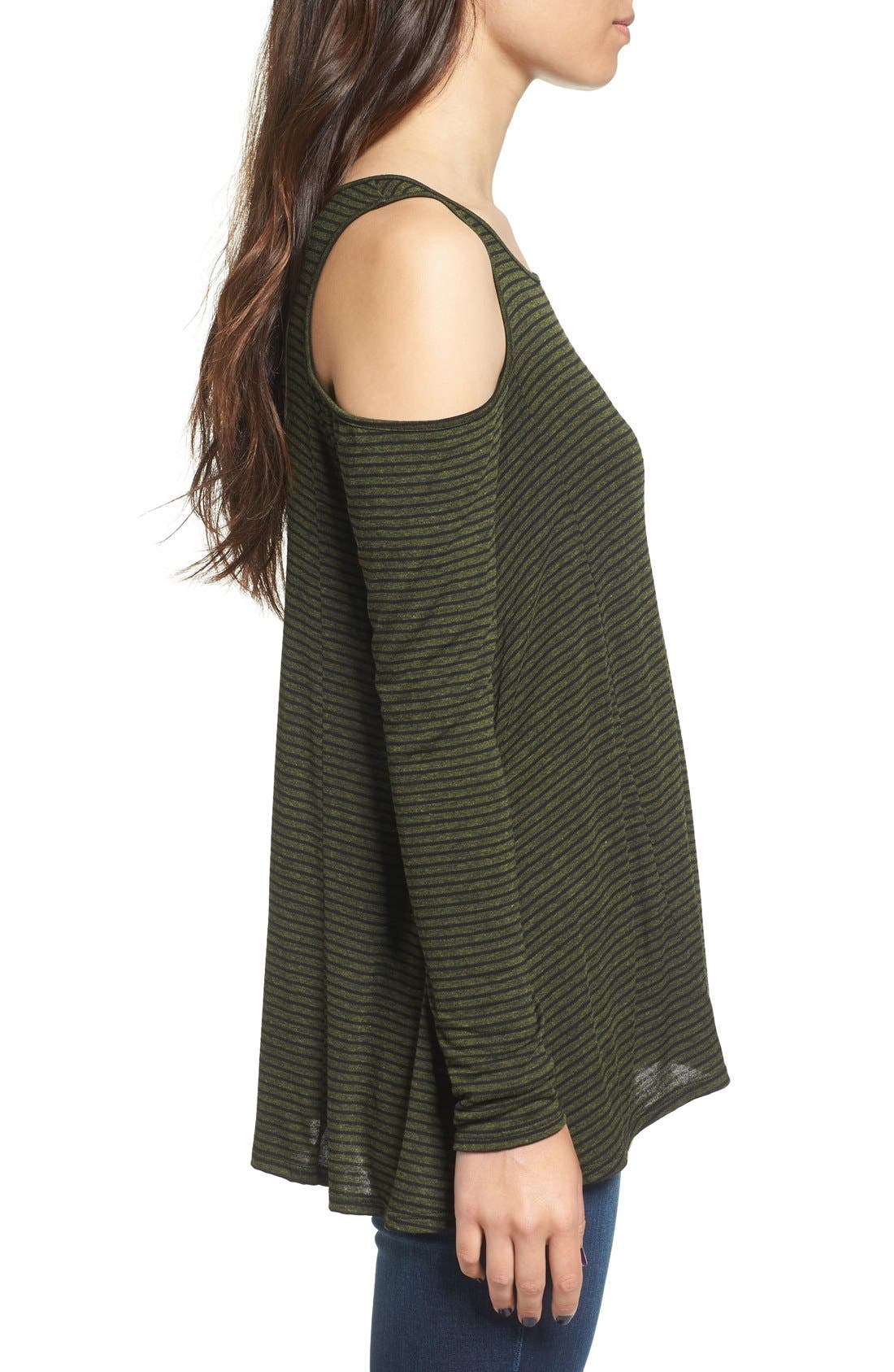 Alternate Image 4  - Lush Stripe Cold Shoulder Top