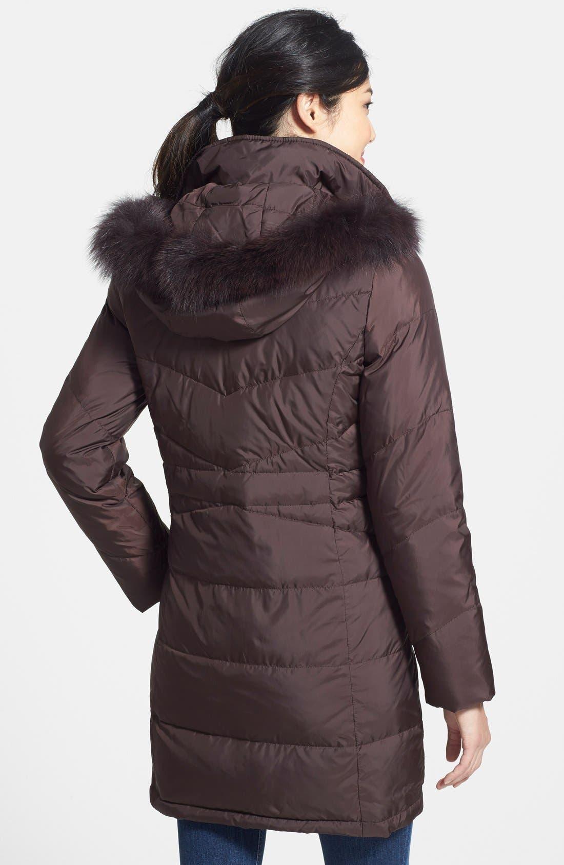 Alternate Image 2  - Ellen Tracy Genuine Fox Fur Trim Down Parka (Regular & Petite)