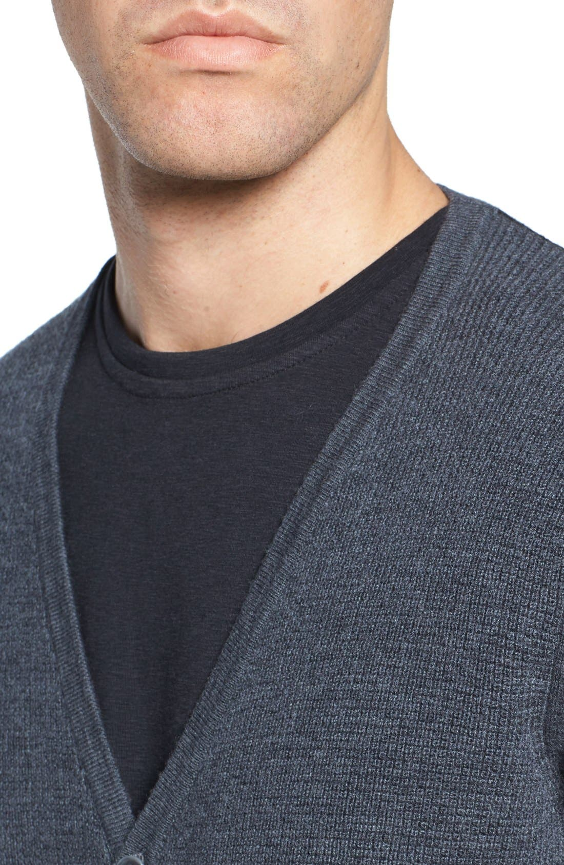 Colorblock Wool Button Cardigan,                             Alternate thumbnail 4, color,                             Charcoal