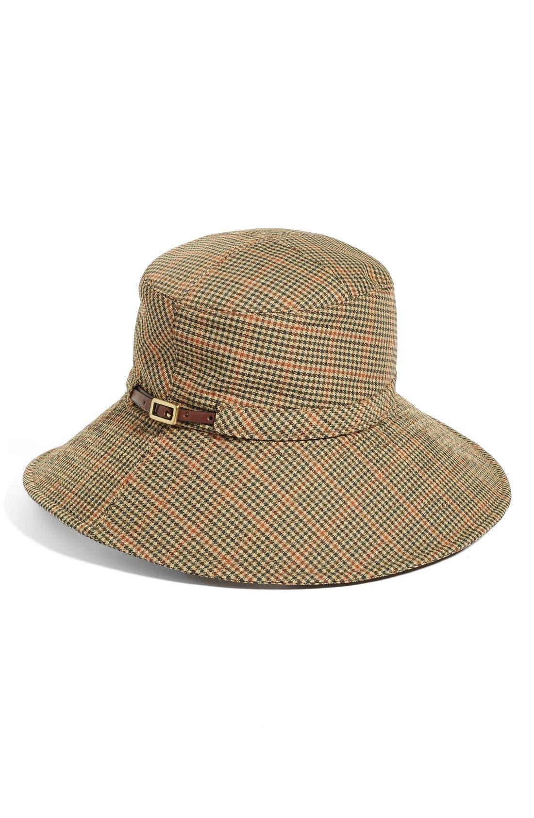 Water Repellent Nylon Rain Hat,                             Alternate thumbnail 2, color,                             Tan Check