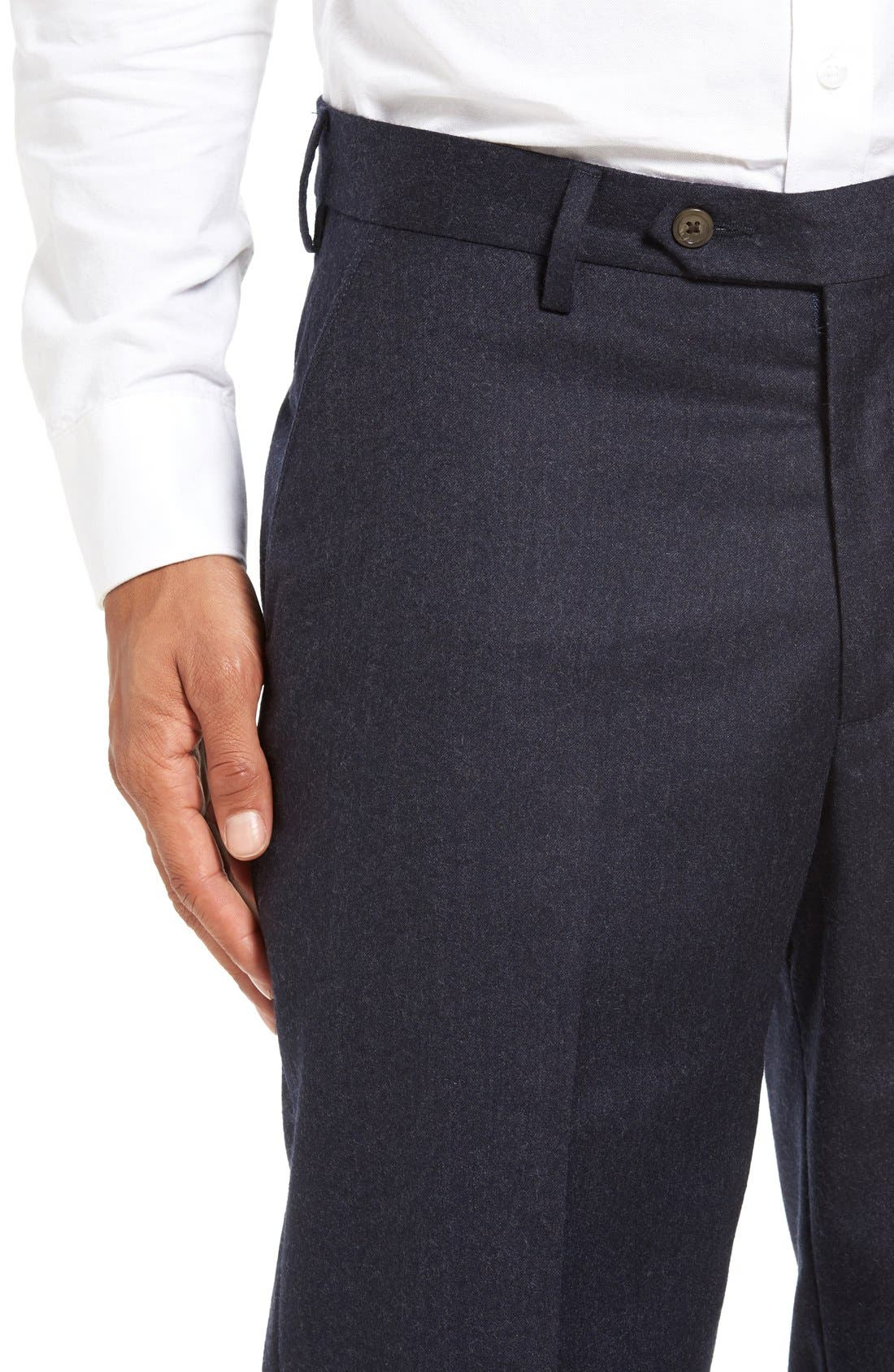 Flat Front Solid Wool Trousers,                             Alternate thumbnail 4, color,                             Heather Navy