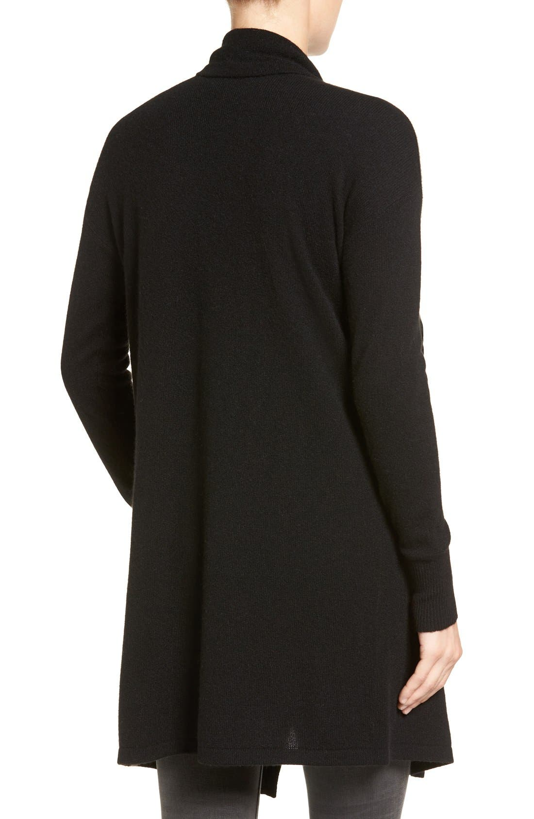 Alternate Image 2  - Halogen® Cashmere Long Drape Front Cardigan (Regular & Petite)