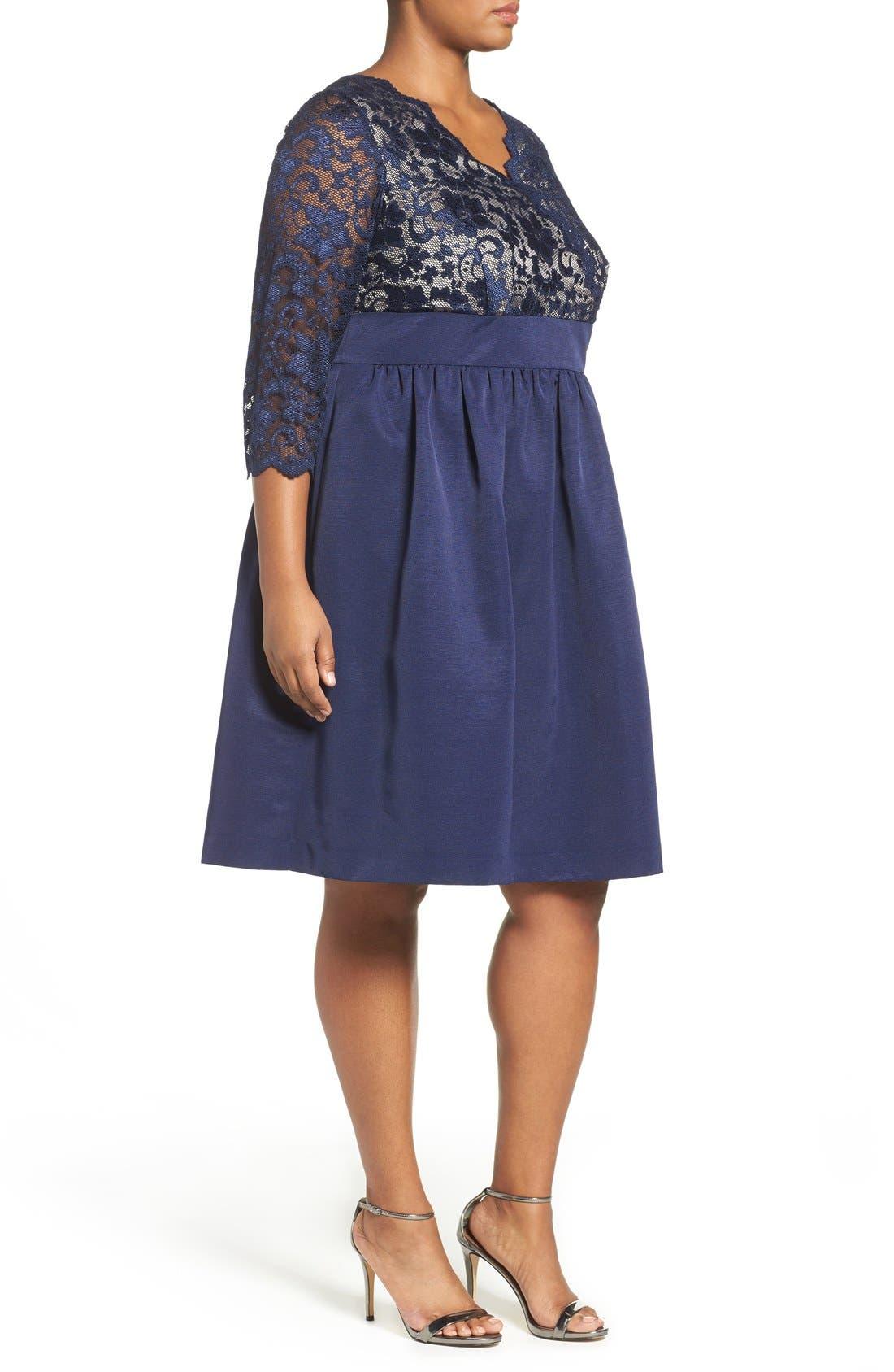 Alternate Image 4  - Eliza J Lace & Faille Dress (Plus Size)