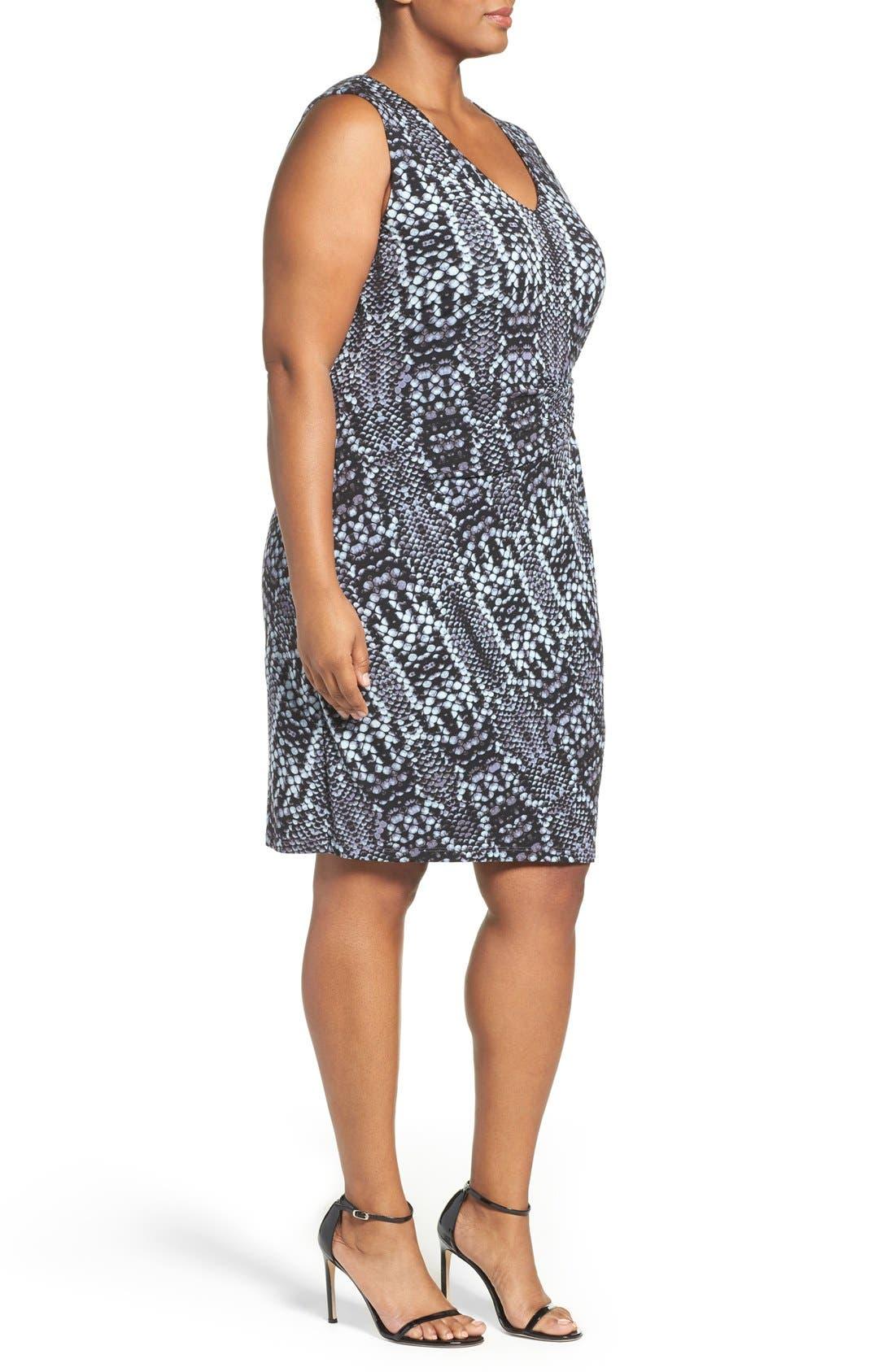 Margaux Twist Front Sheath Dress,                             Alternate thumbnail 3, color,                             Python Tintype