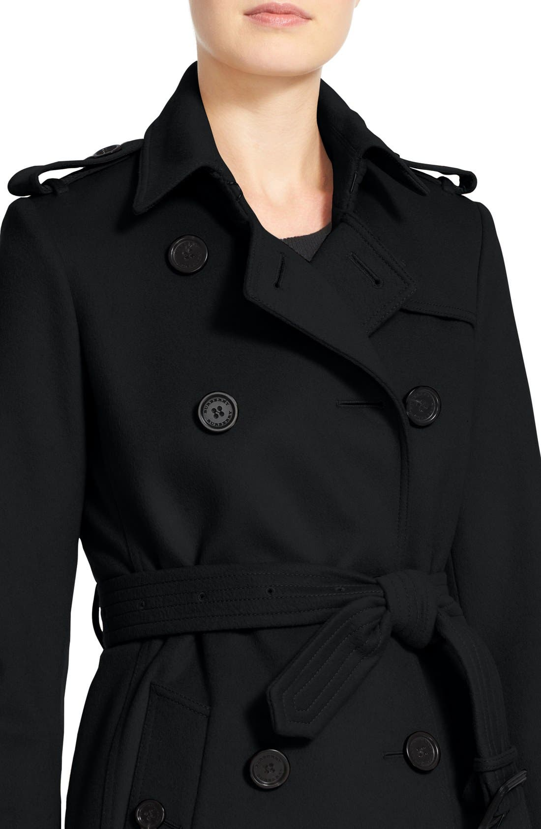 Kensington Double Breasted Wool & Cashmere Trench Coat,                             Alternate thumbnail 6, color,                             Black