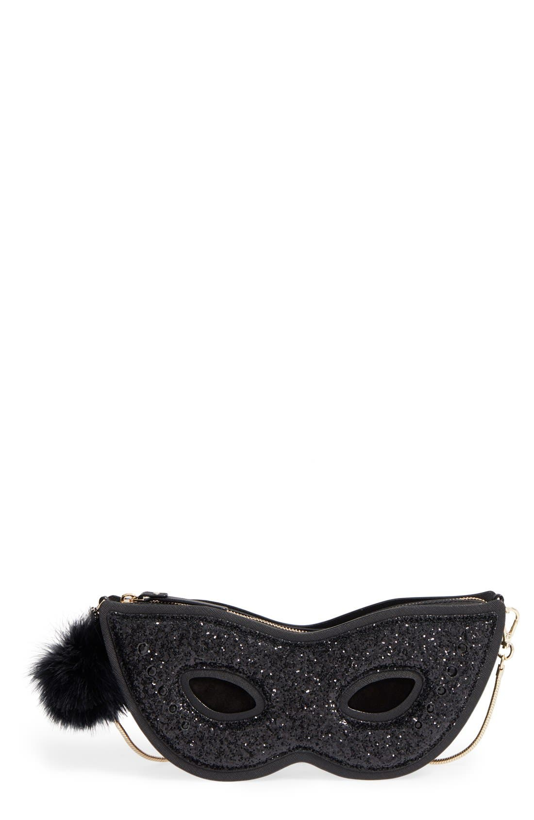 Alternate Image 1 Selected - kate spade new york dress the part glitter mask clutch