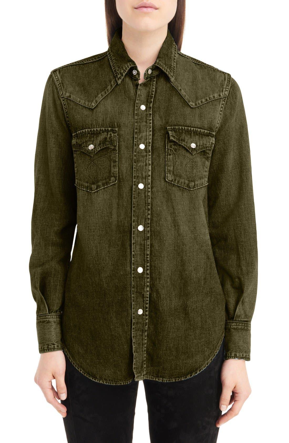 Western Stitched Pocket Shirt,                             Main thumbnail 1, color,                             Army Green