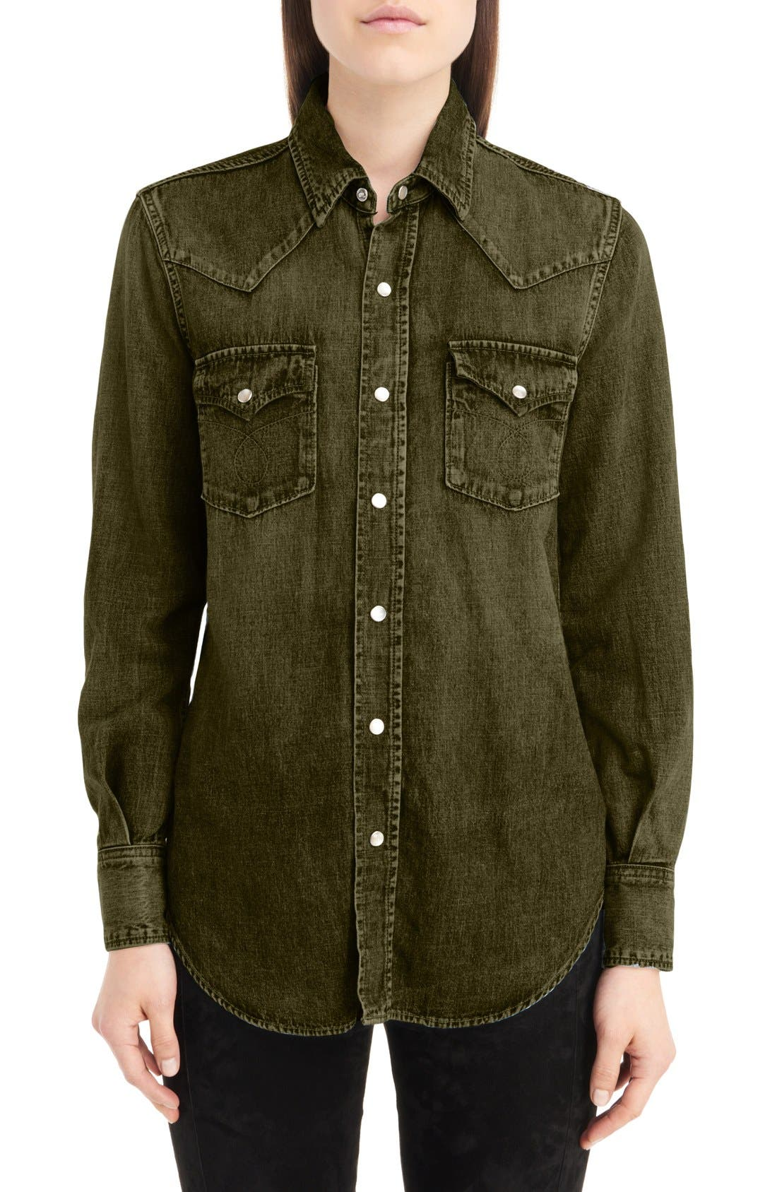 Western Stitched Pocket Shirt,                         Main,                         color, Army Green