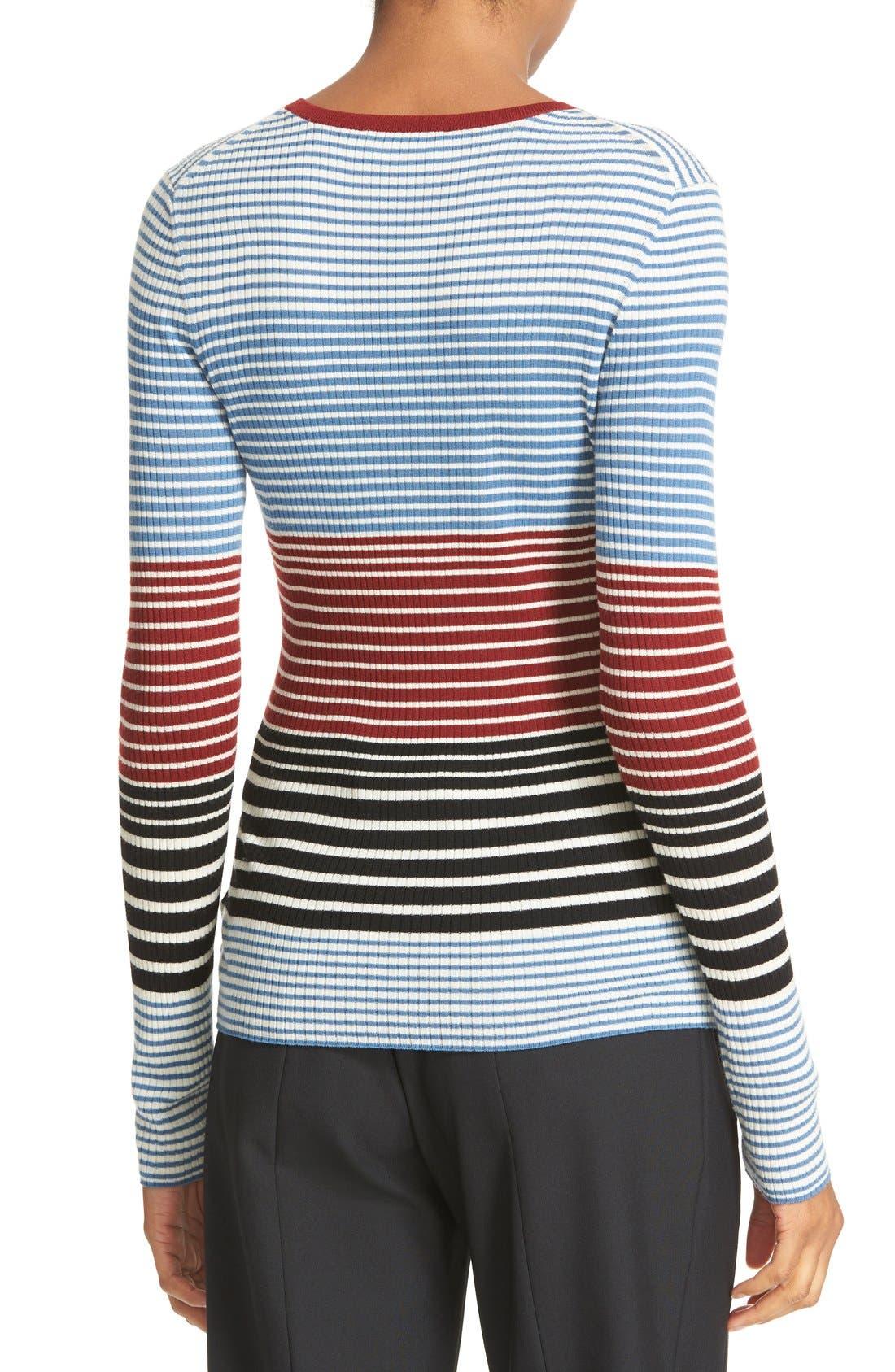 Alternate Image 2  - Theory Mirzi Stripe Rib Knit Merino Sweater