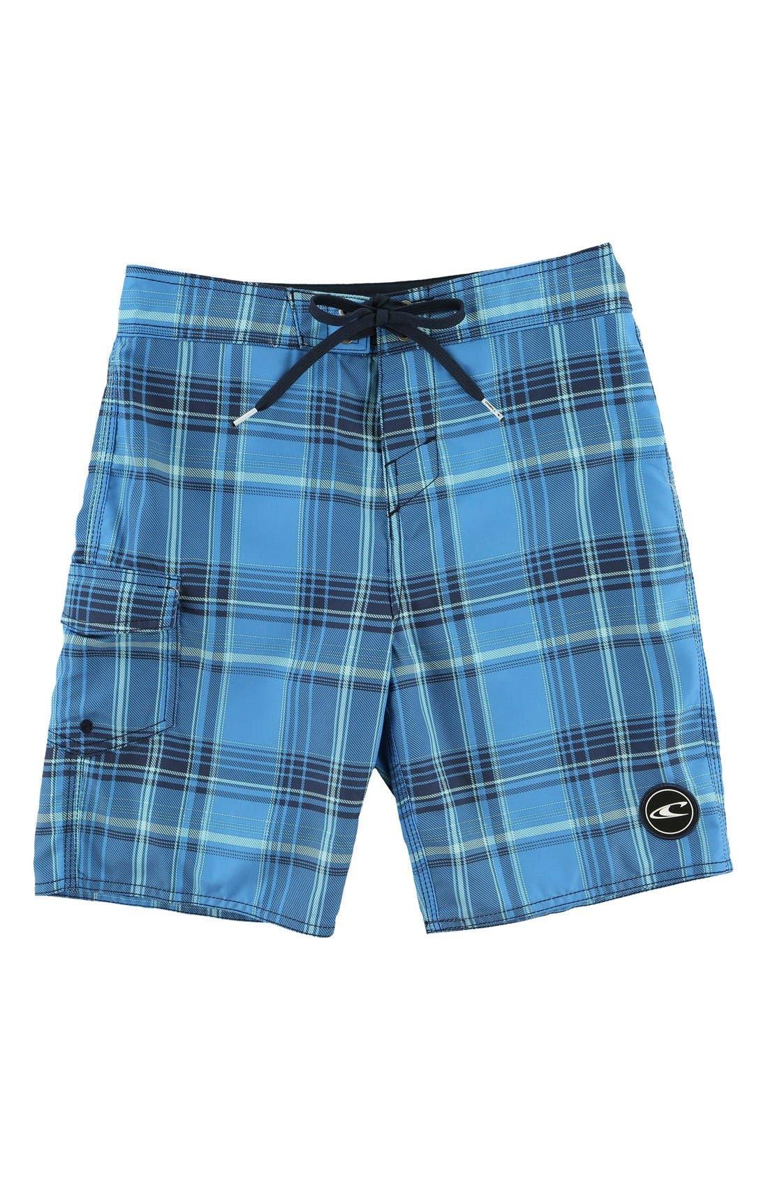 Santa Cruz Plaid Board Shorts,                         Main,                         color, Navy