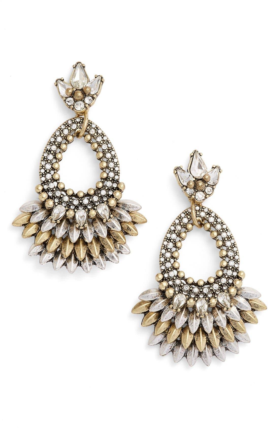 Tille Crystal Drop Earrings,                         Main,                         color, Antique Gold