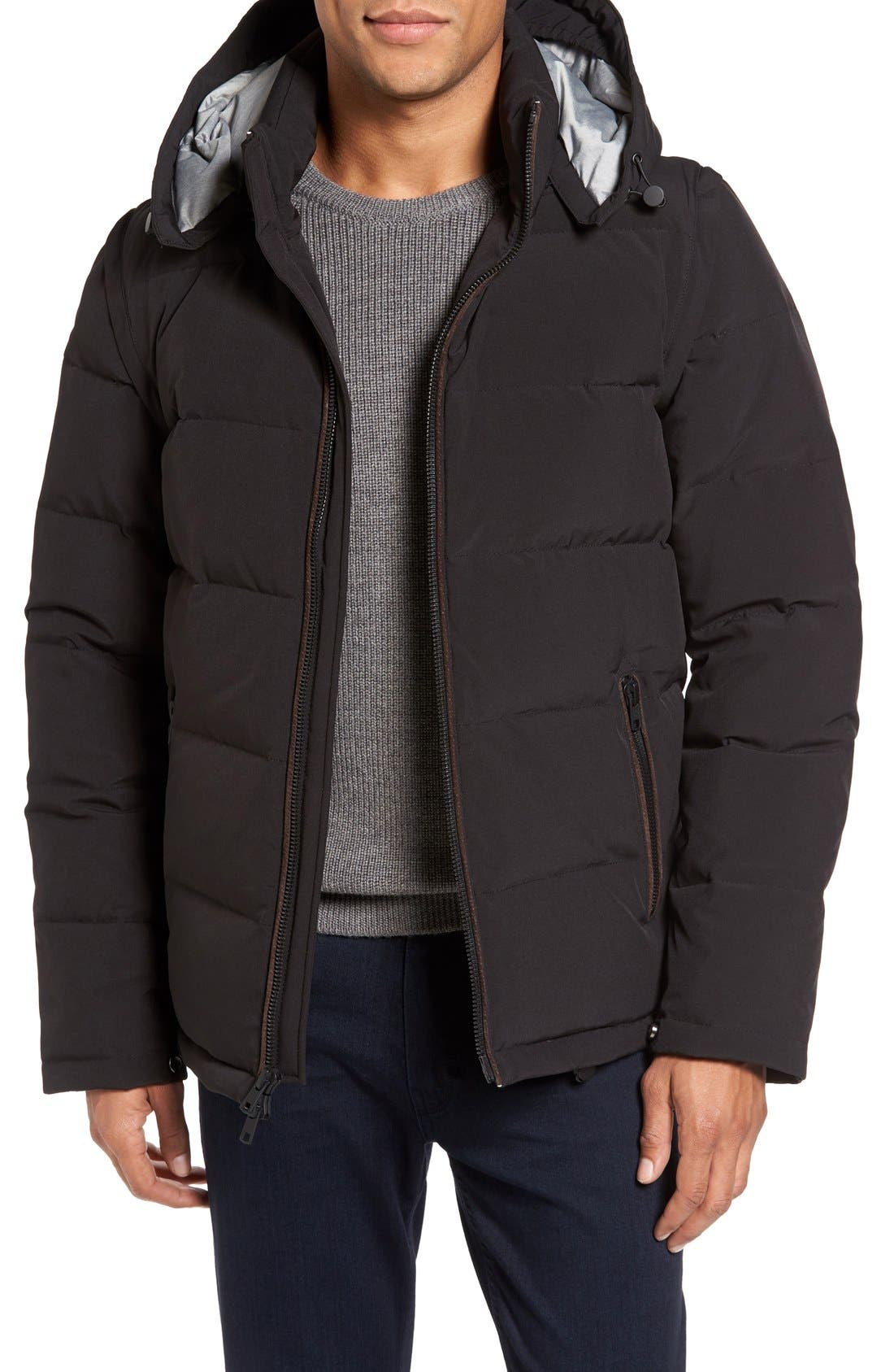 Convertible Down & Feather Puffer Jacket,                             Main thumbnail 1, color,                             Black