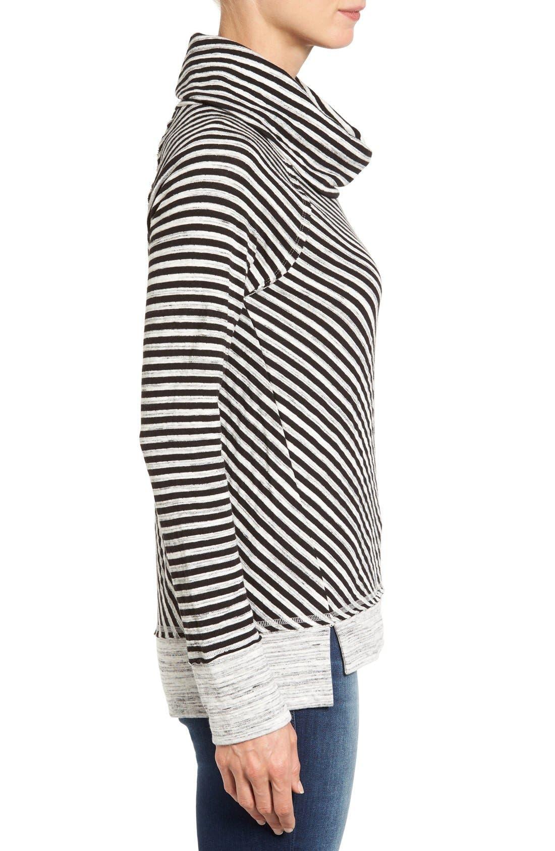 Alternate Image 3  - Caslon® Stripe Cowl Neck Sweatshirt (Regular & Petite)