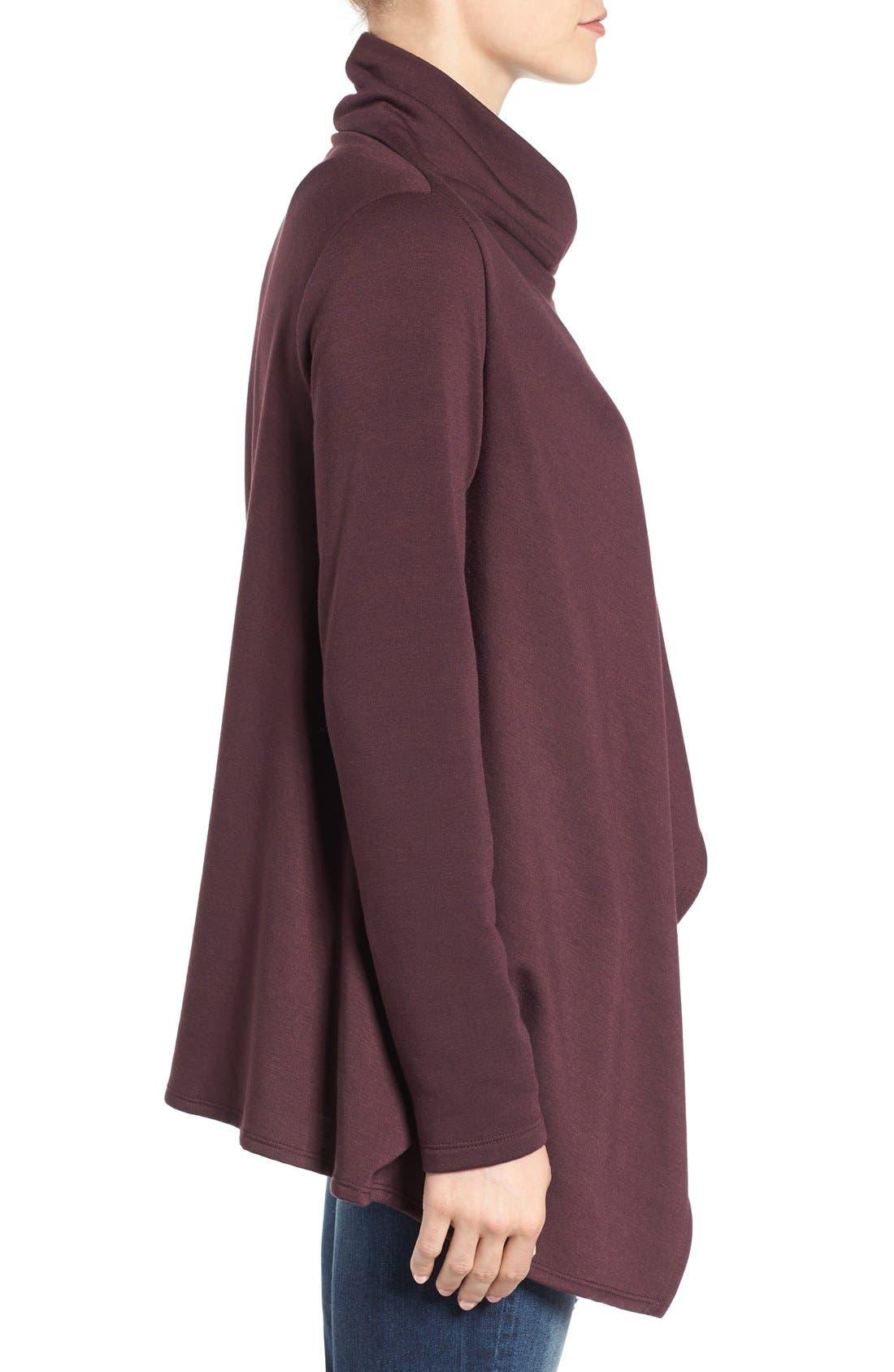 Alternate Image 3  - Bobeau One-Button Fleece Wrap Cardigan (Regular & Petite)