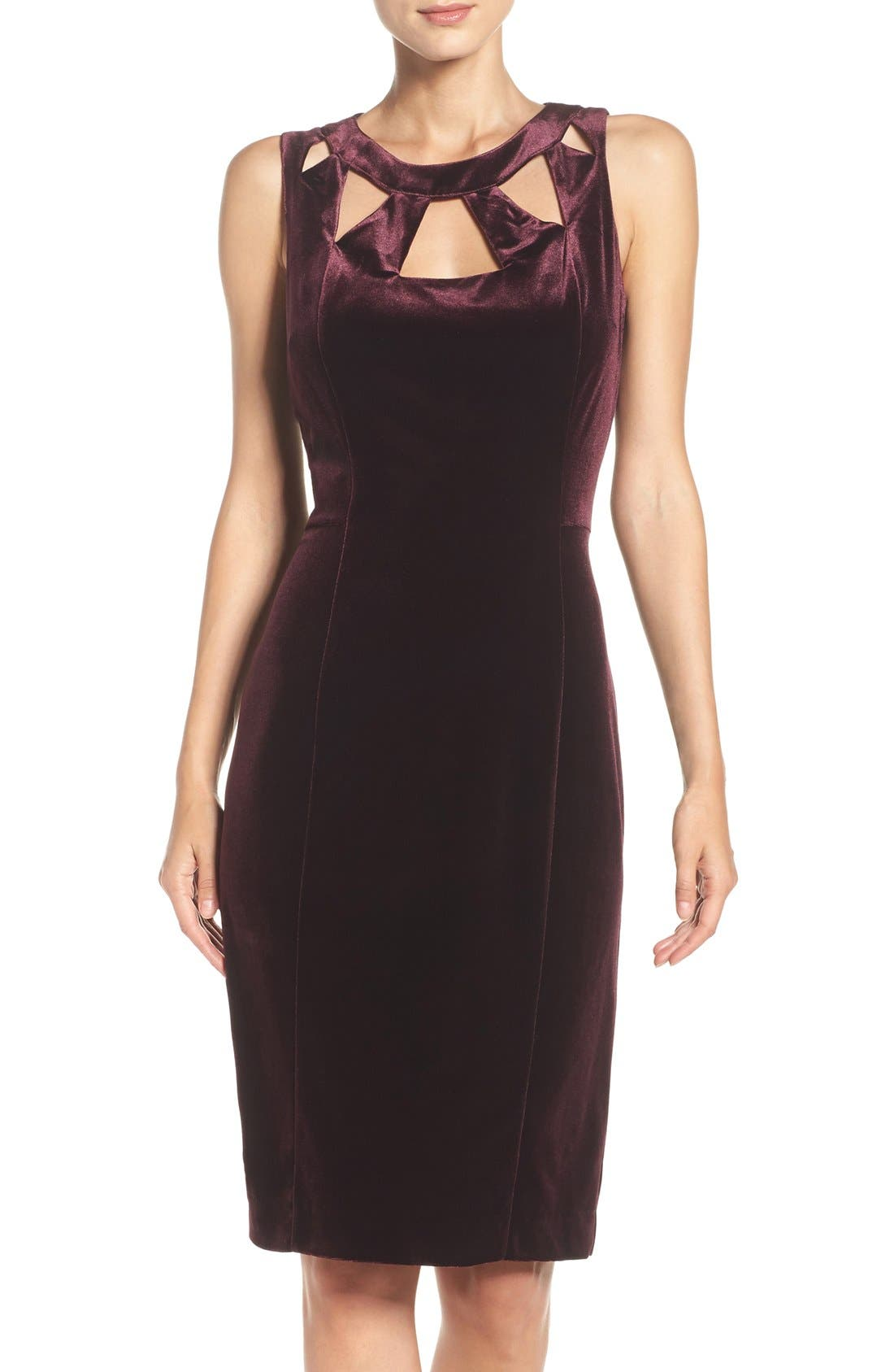 Main Image - Eliza J Velvet Cutout Sheath Dress