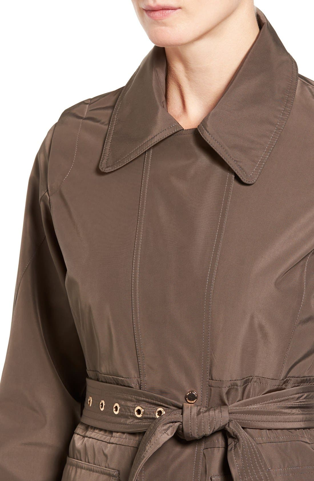 Hooded Trench Coat,                             Alternate thumbnail 4, color,                             Dark Taupe
