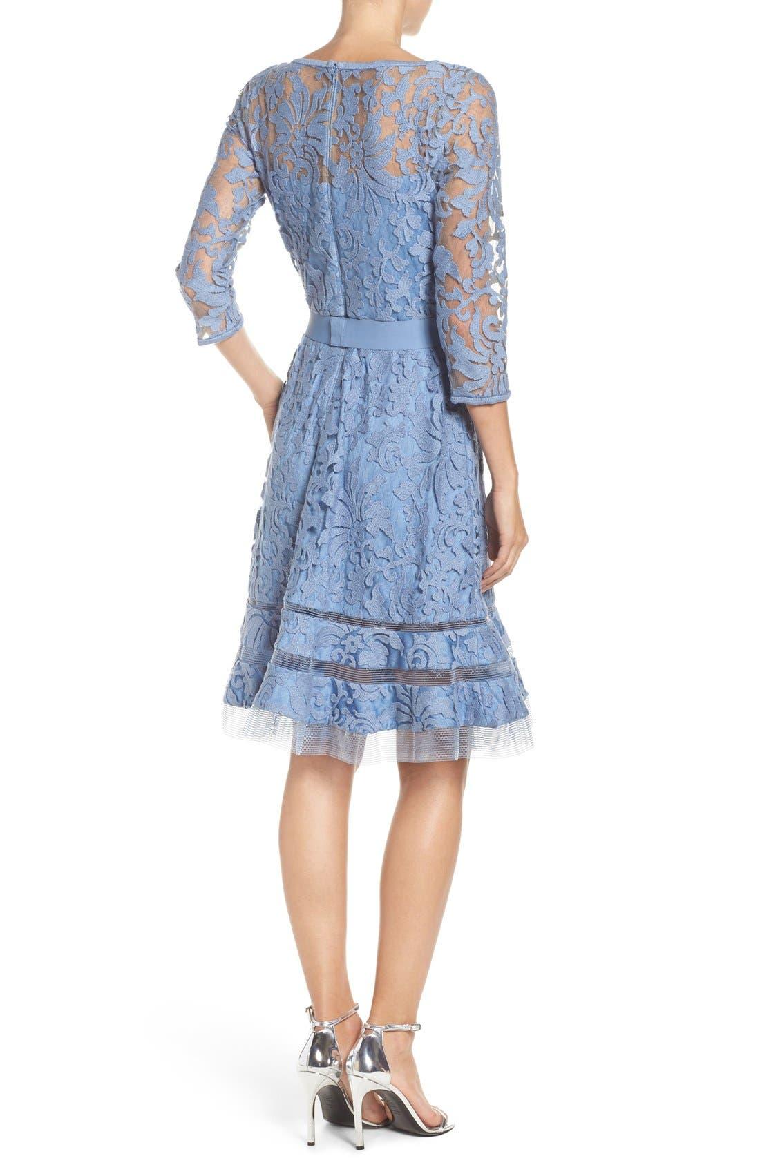 Lace Overlay Dress,                             Alternate thumbnail 2, color,                             Bluestone