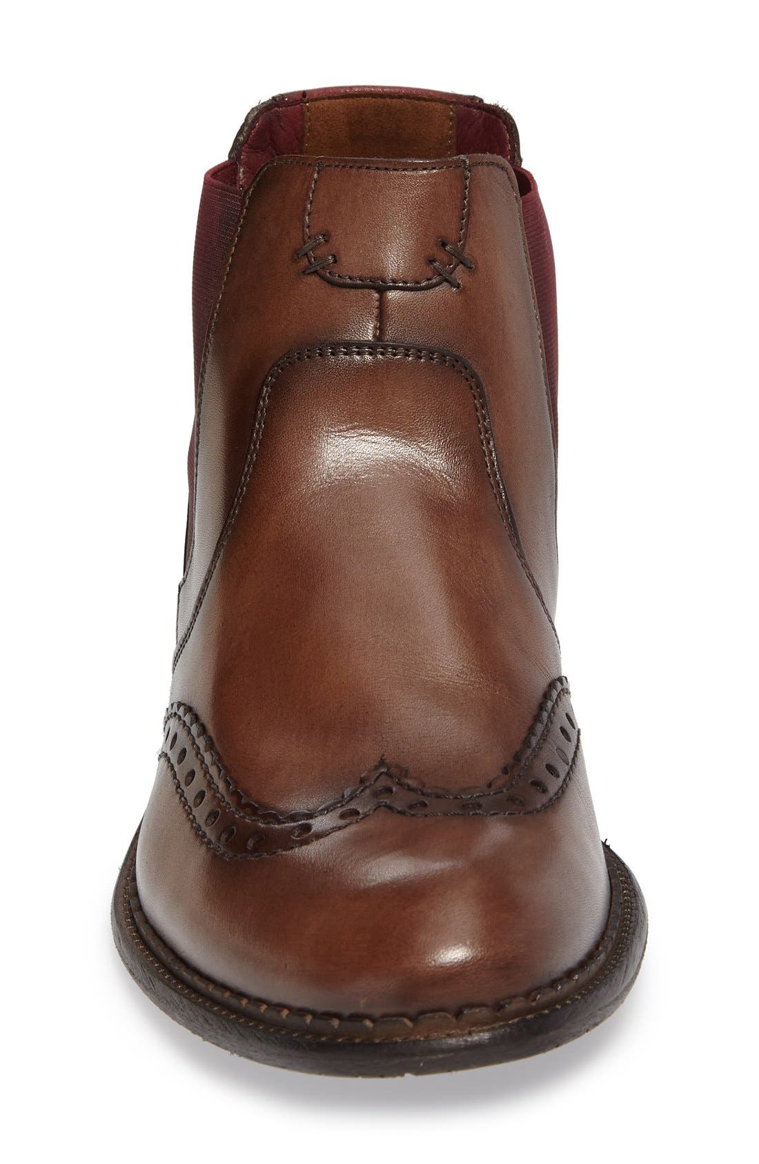 Grenoble Wingtip Chelsea Boot,                             Alternate thumbnail 3, color,                             Tobacco/ Bordo