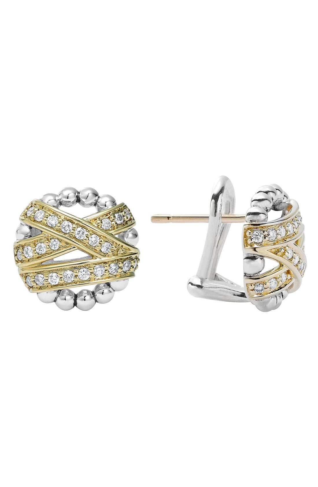 'Diamonds & Caviar' Diamond Stud Earrings,                             Main thumbnail 1, color,                             Silver/ Gold