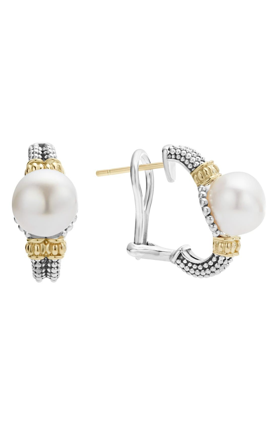 Luna Pearl Stud Earrings,                         Main,                         color, Silver/ Pearl