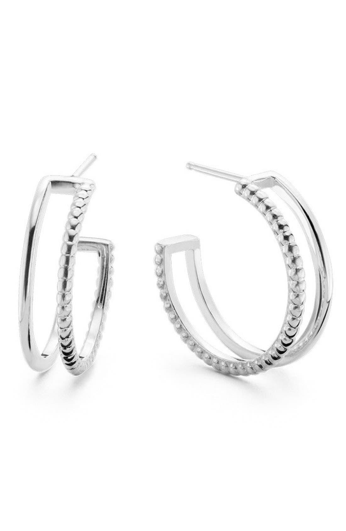 Open Hoop Earrings,                         Main,                         color, Silver