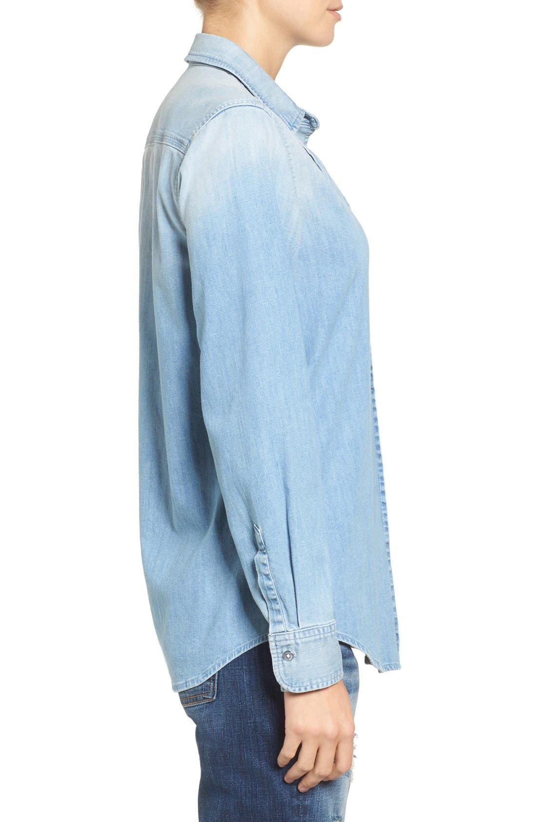 Alternate Image 2  - 7 For All Mankind® Torn Pocket Denim Boyfriend Shirt