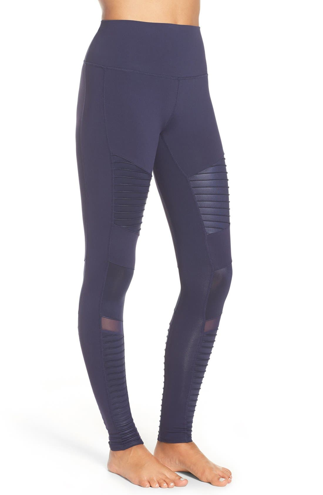 High Waist Moto Leggings,                             Alternate thumbnail 3, color,                             Rich Navy/ Rich Navy Glossy