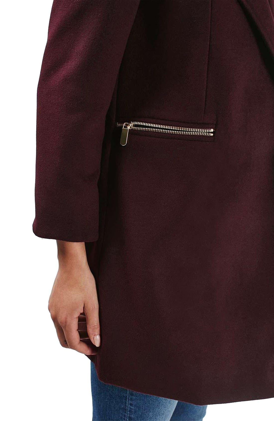'Meg' Zip Pocket Coat,                             Alternate thumbnail 6, color,                             Burgundy