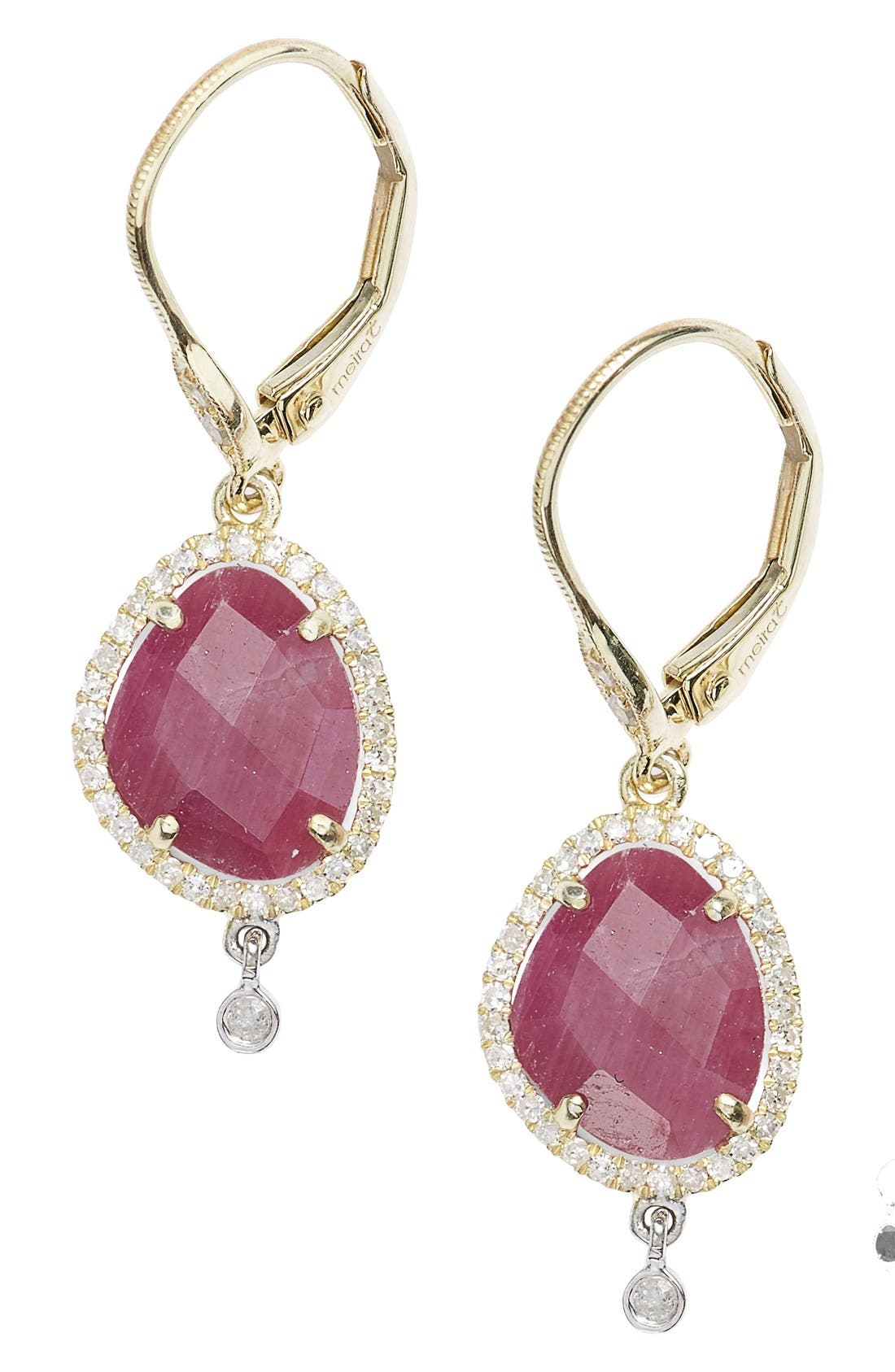 Diamond & Semiprecious Stone Drop Earrings,                             Main thumbnail 1, color,                             Ruby
