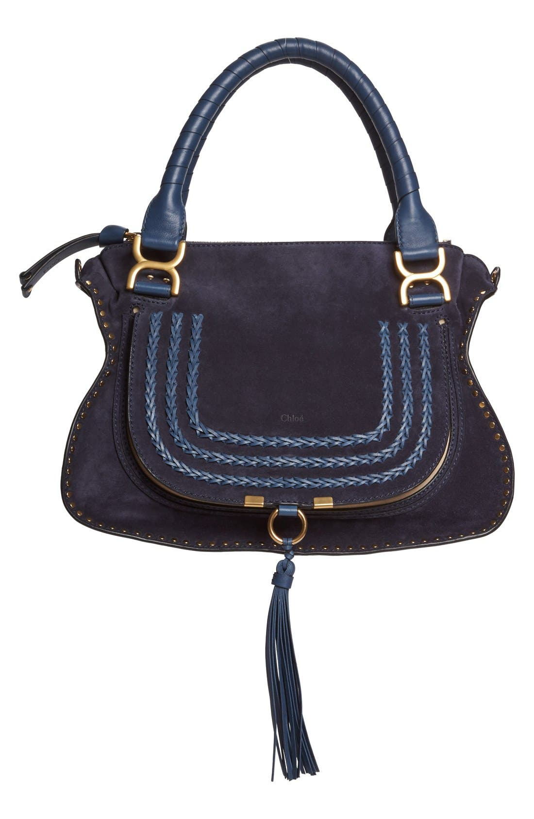 'Medium Marcie' Suede Satchel,                             Main thumbnail 1, color,                             Navy