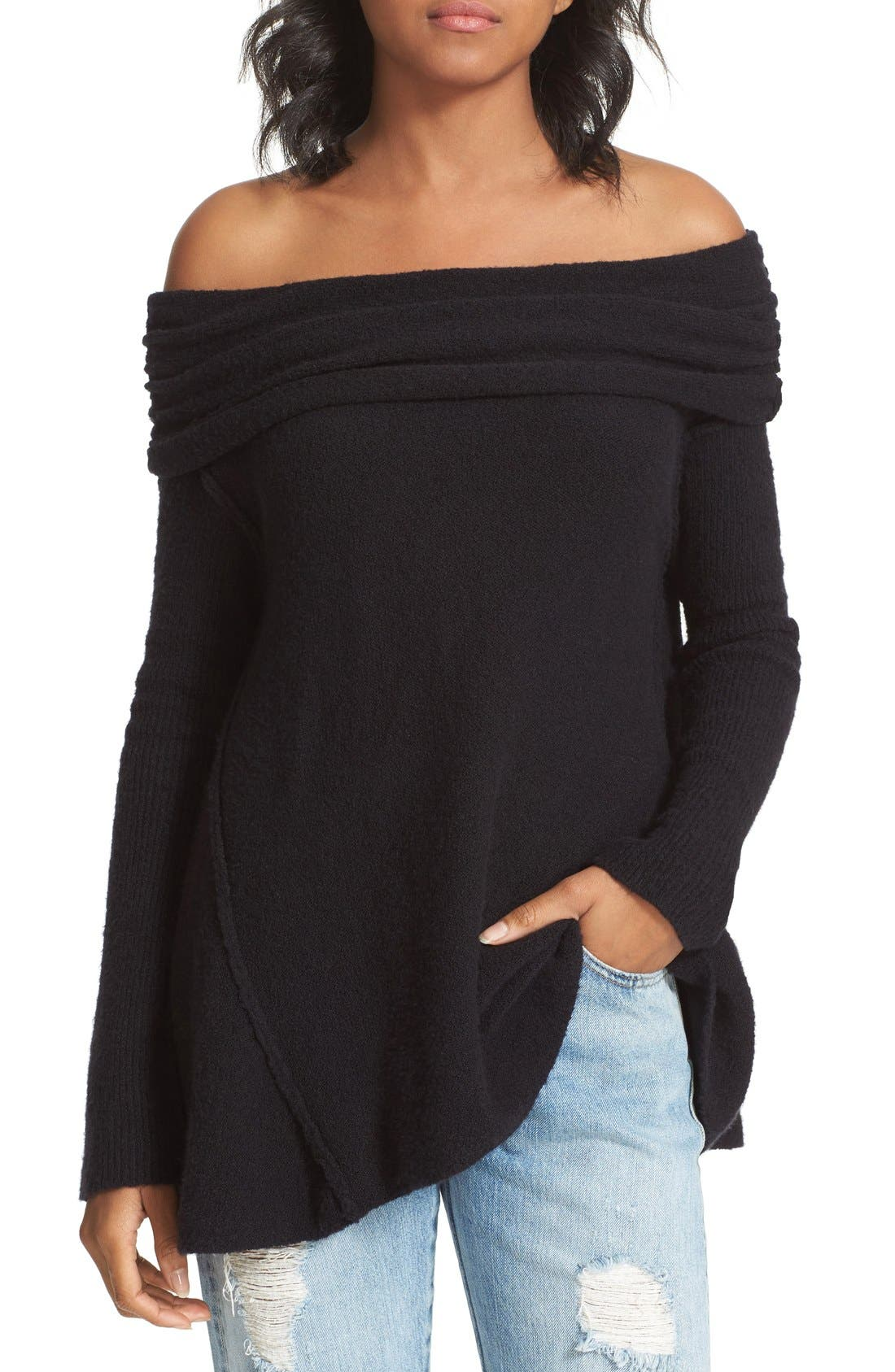 'Strawberry Fields' Off the Shoulder Sweater,                             Main thumbnail 1, color,                             Black