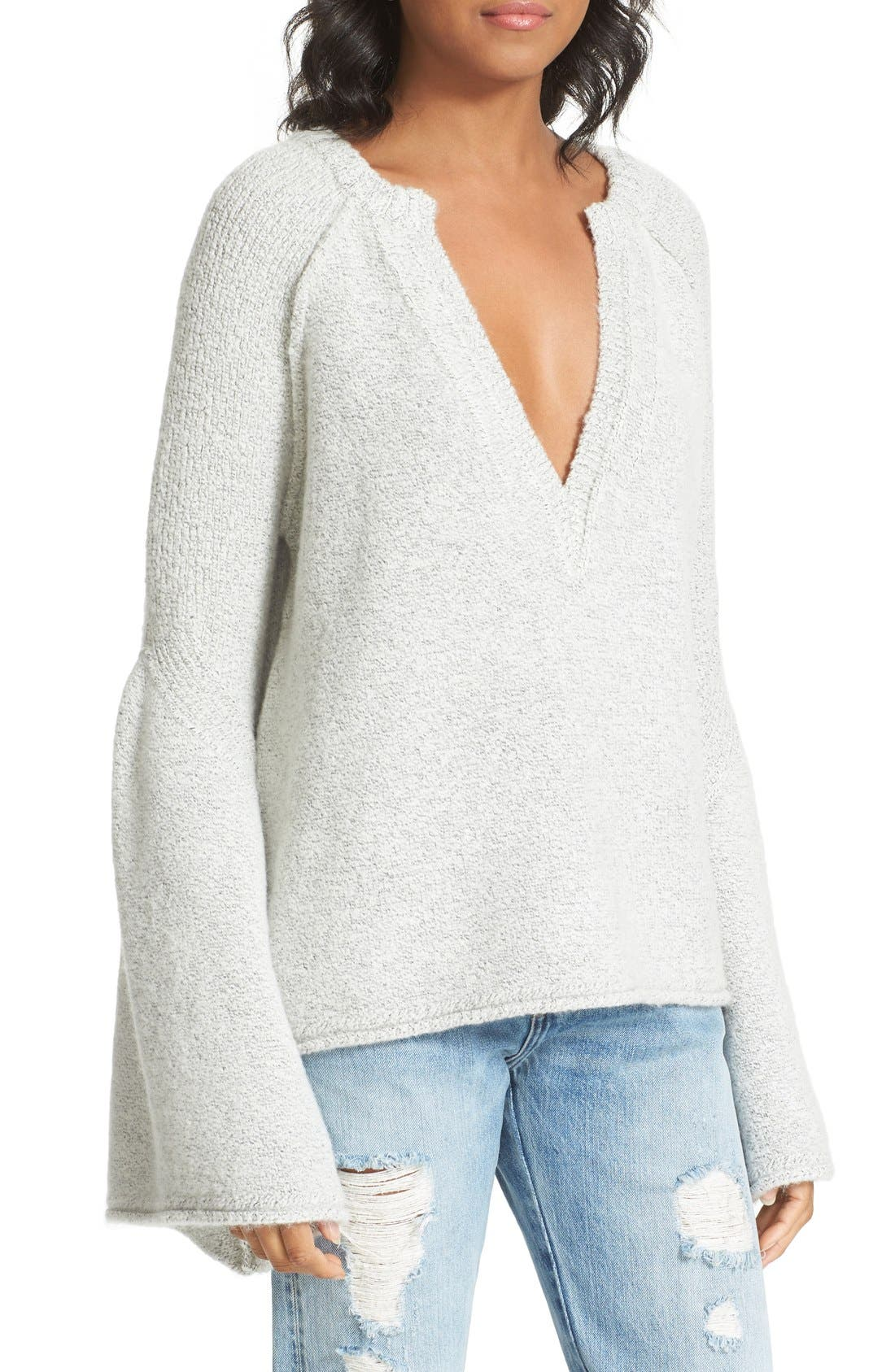 Lovely Lines Bell Sleeve Sweater,                             Alternate thumbnail 4, color,                             Ivory