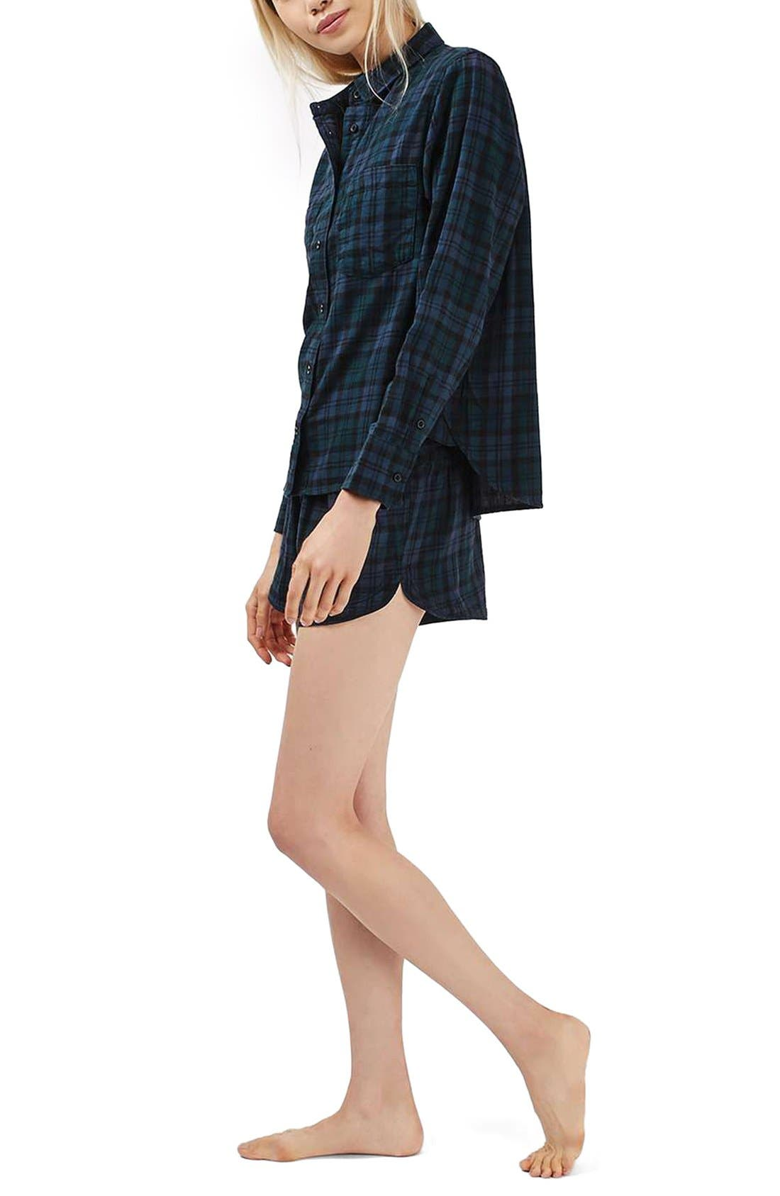 Alternate Image 2  - Topshop Plaid Flannel Pajama Shirt