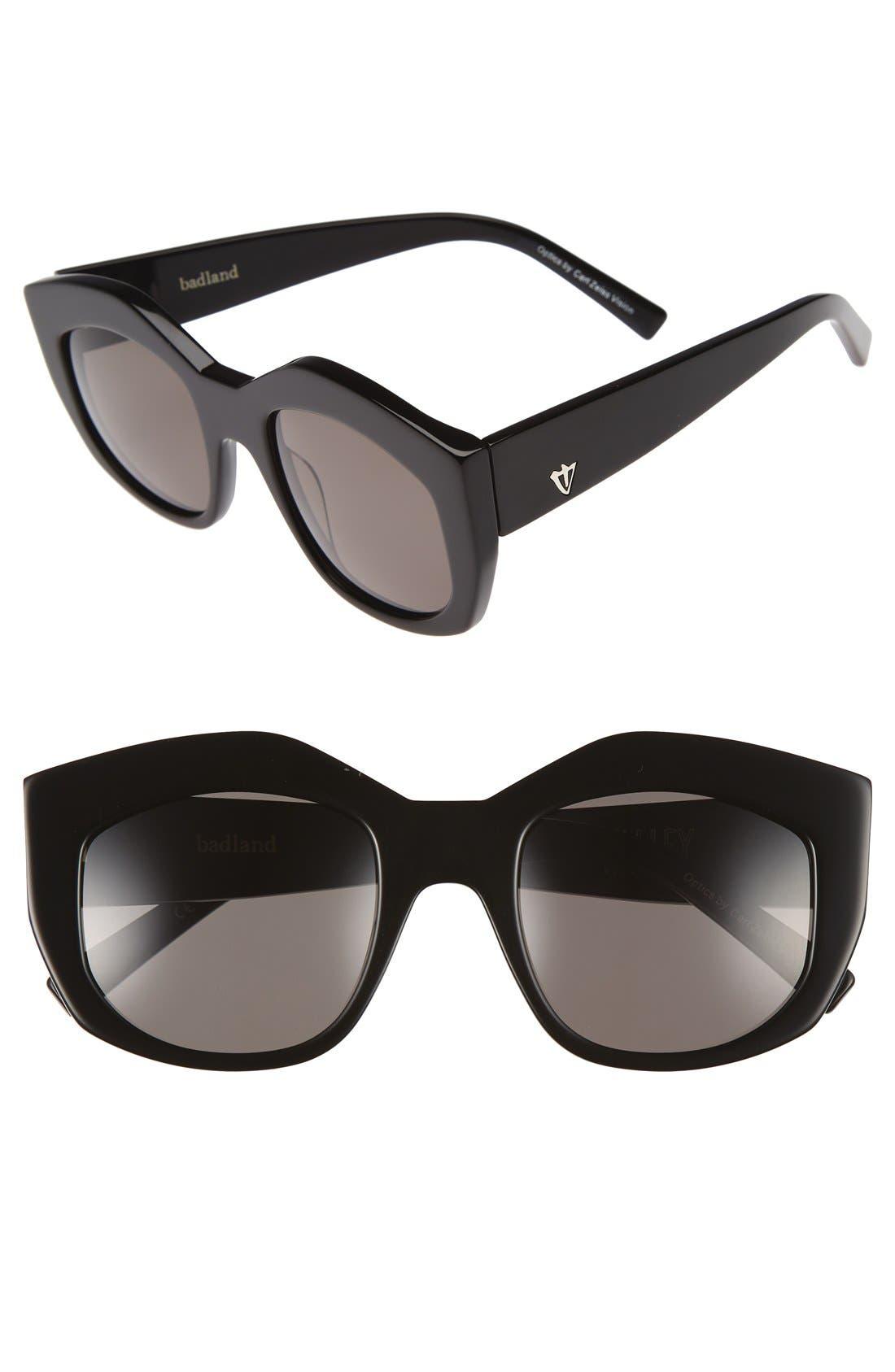 50mm Badland Sunglasses,                         Main,                         color, Gloss Black