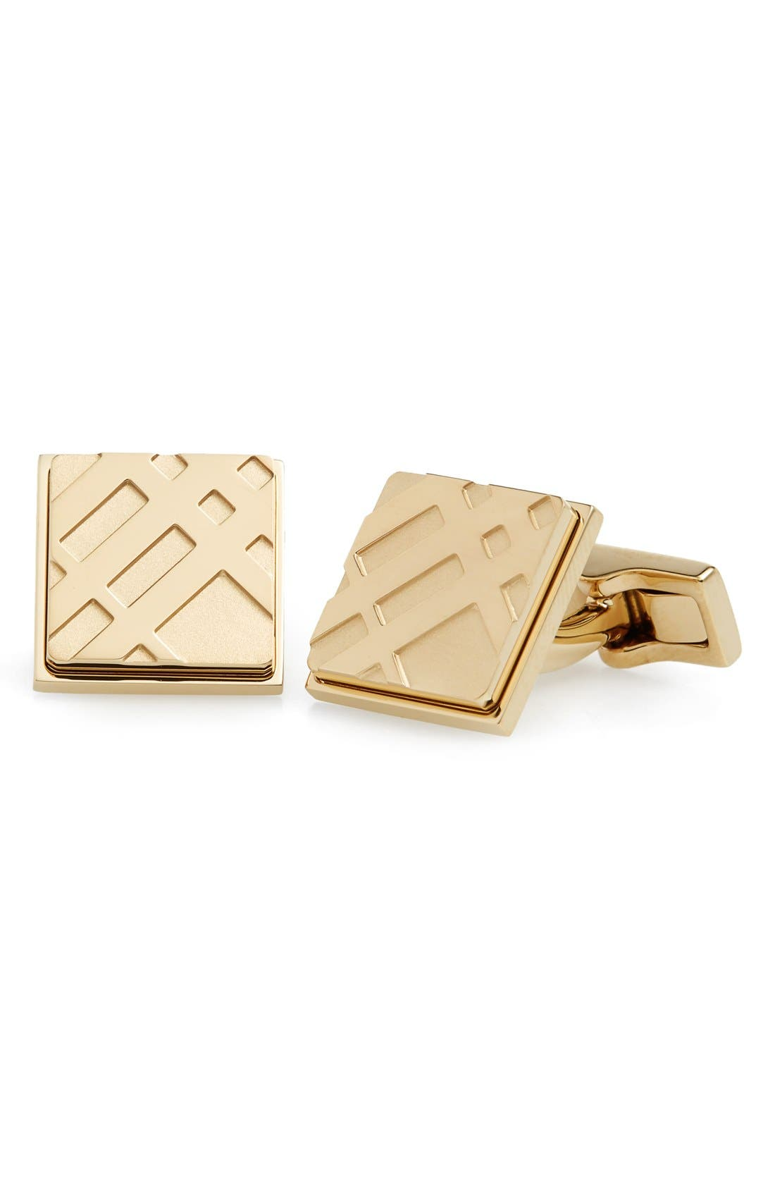 Square Cuff Links,                         Main,                         color, Pale Gold