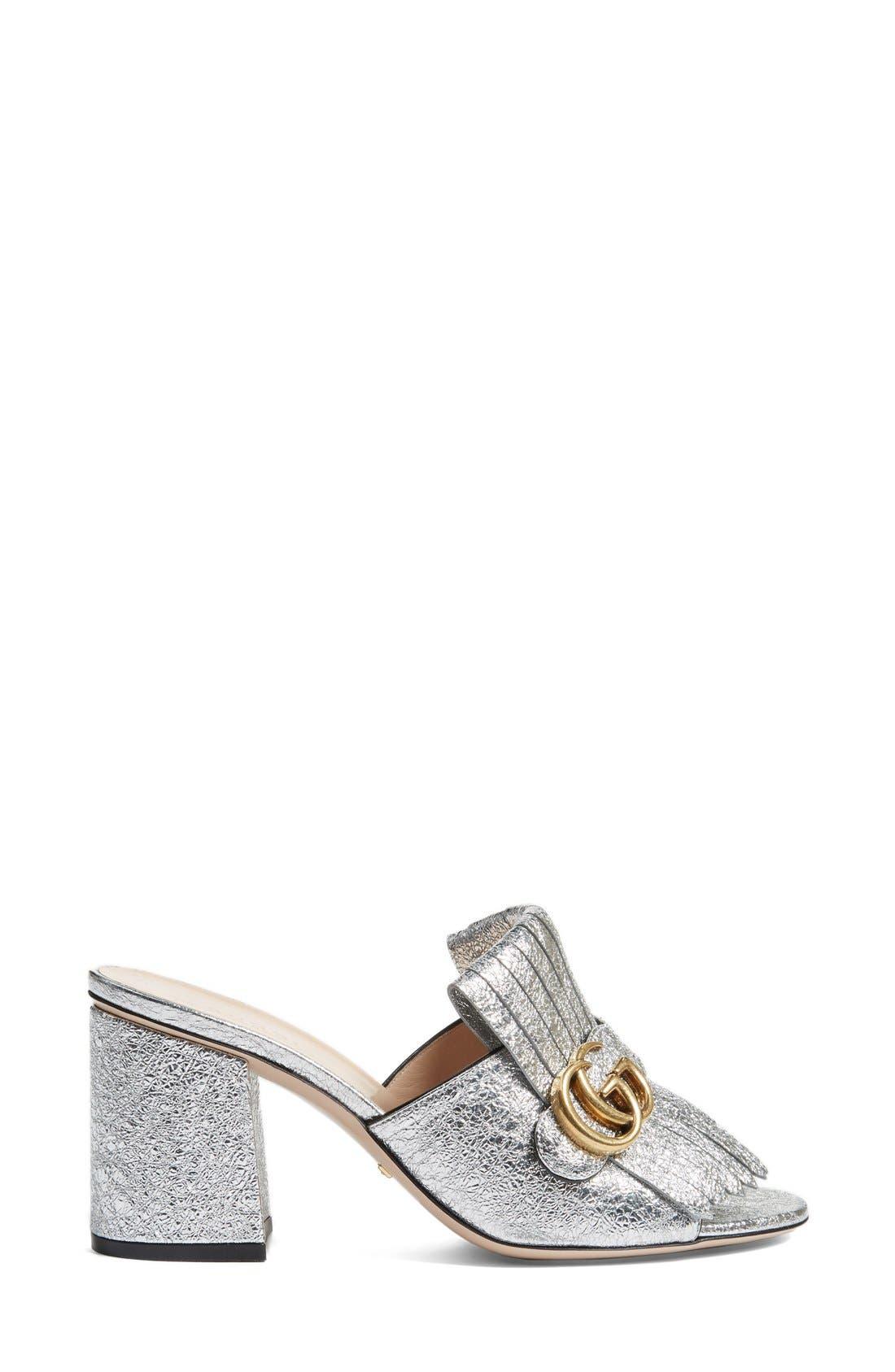 Alternate Image 4  - Gucci GG Marmont Peep Toe Kiltie Mule (Women)