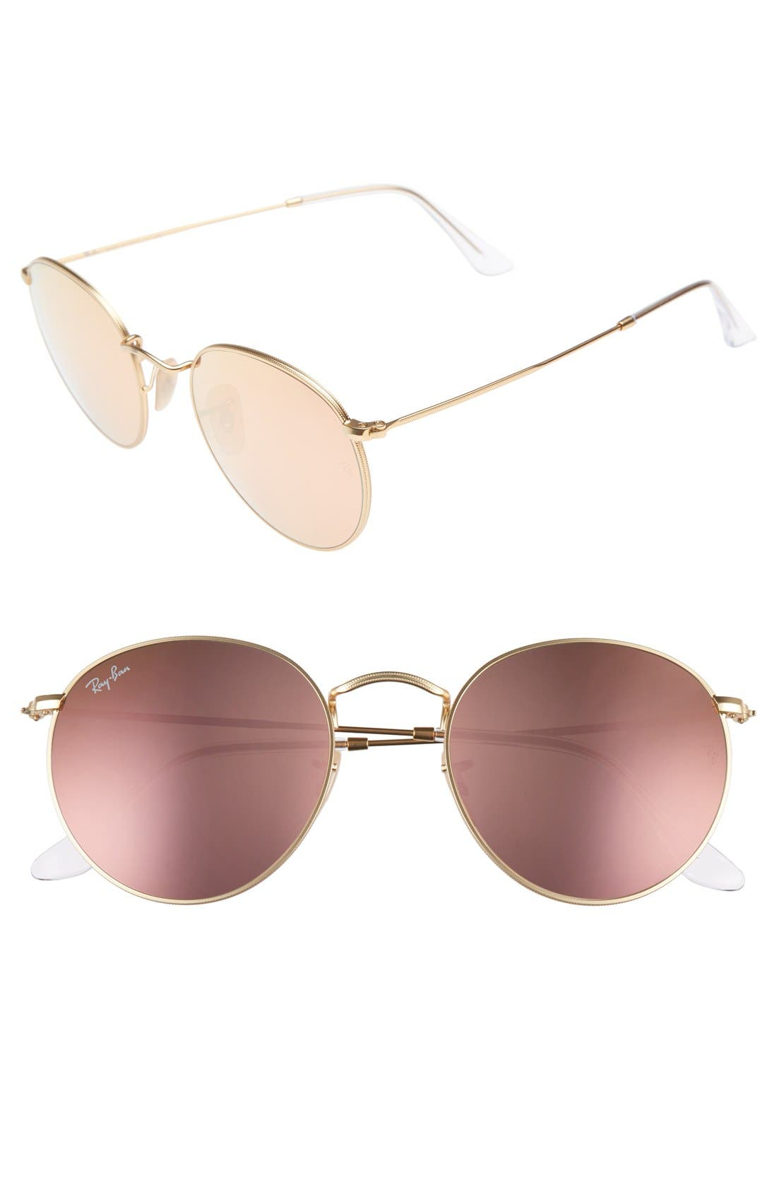 Icons 53mm Retro Sunglasses,                         Main,                         color, Brown/ Pink