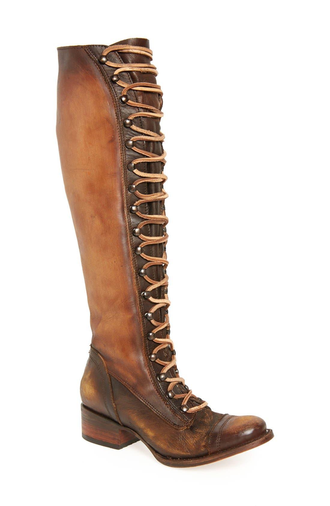 Arlo Lace-Up Knee High Boot,                             Main thumbnail 1, color,                             Tan