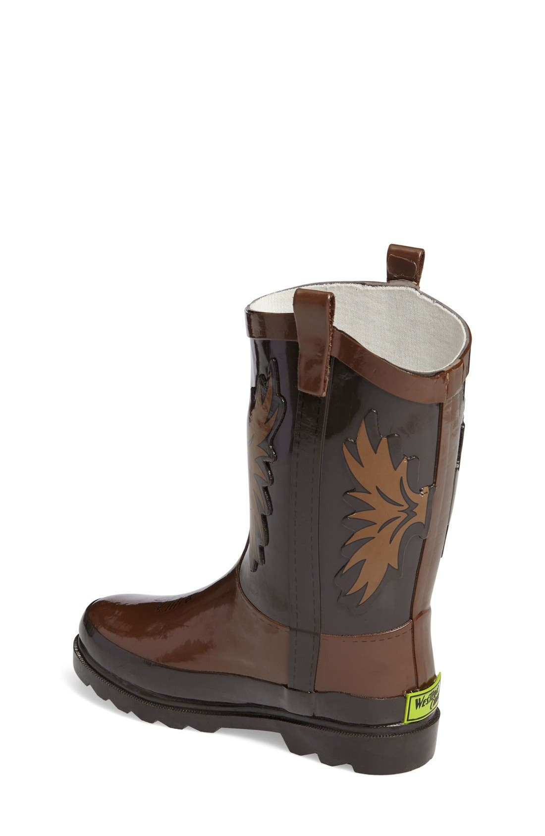 Cowboy Waterproof Rain Boot,                             Alternate thumbnail 2, color,                             Brown