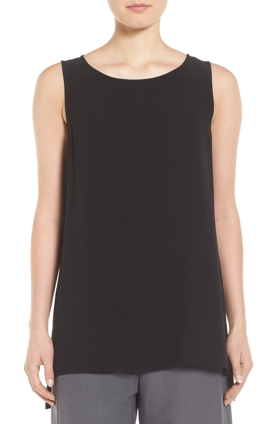 Main Image - Eileen Fisher Silk Crepe Bateau Neck Shell (Regular & Petite)