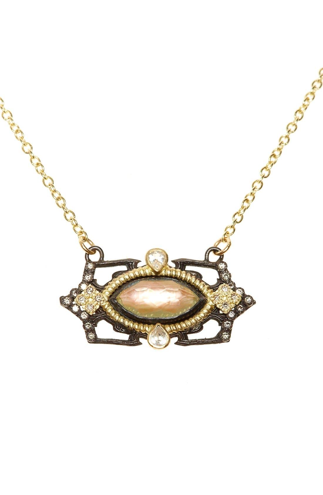Old World Marquis Diamond Pendant Necklace,                         Main,                         color, Black